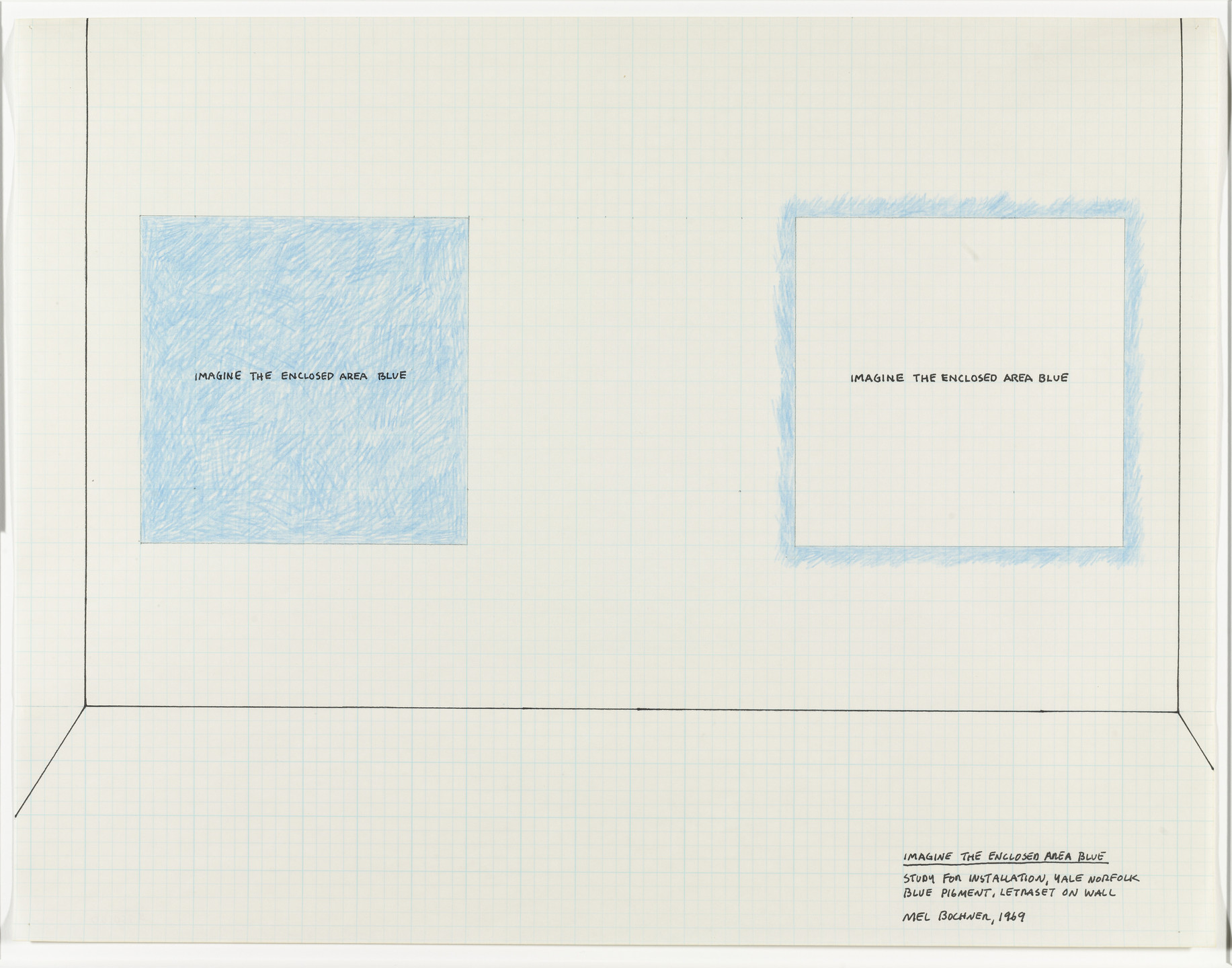 Mel Bochner. Imagine the Enclosed Area Blue (Study for Installation, Yale, Norfolk). 1968