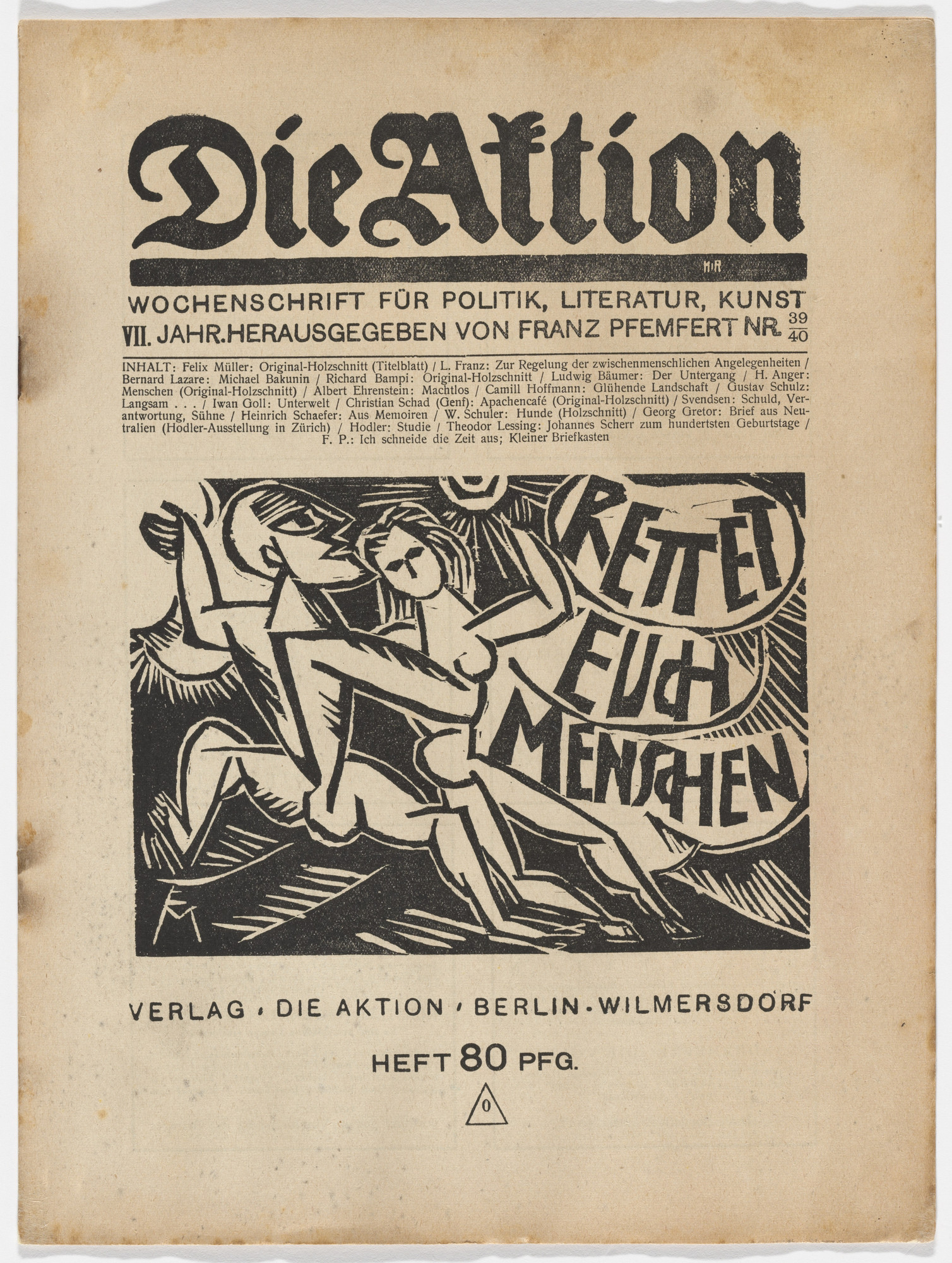 Conrad Felixmüller, Richard Bampi, Herbert Anger, Christian Schad, Wilhelm Schuler. Die Aktion, vol. 7, no. 39/40. October 6, 1917