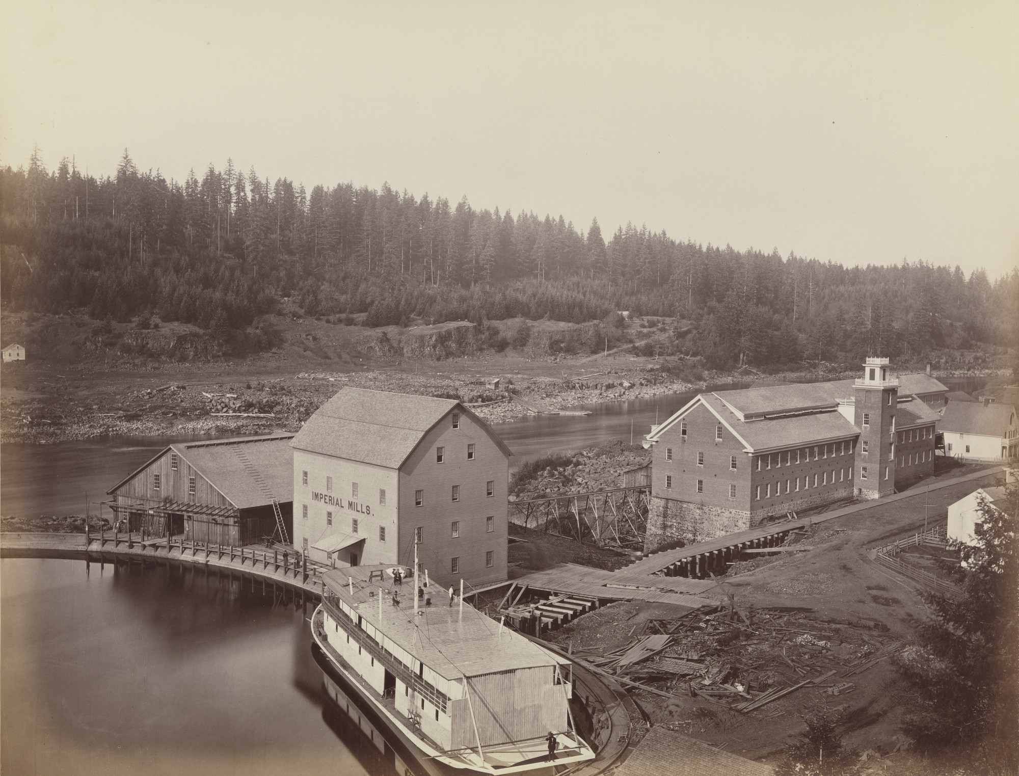 Carleton E. Watkins. Flour and Woolen Mills, Oregon City. 1867