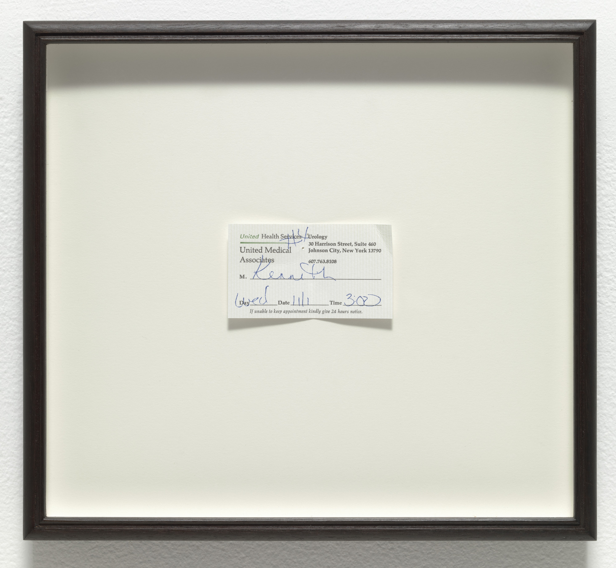 Robert Gober. Urology Appointment. 2007