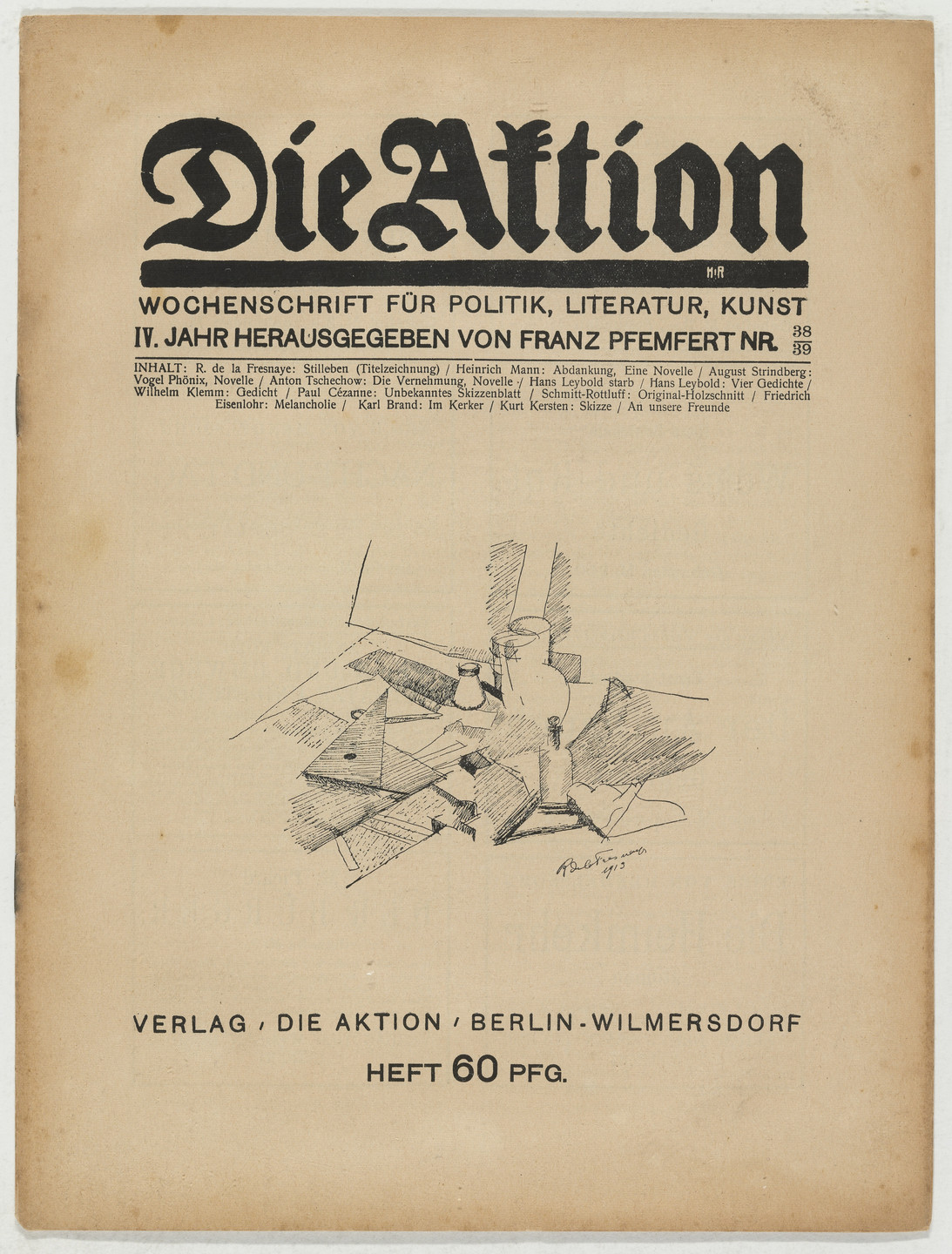 Karl Schmidt-Rottluff. Die Aktion, vol. 4, no. 38/39. September 26, 1914
