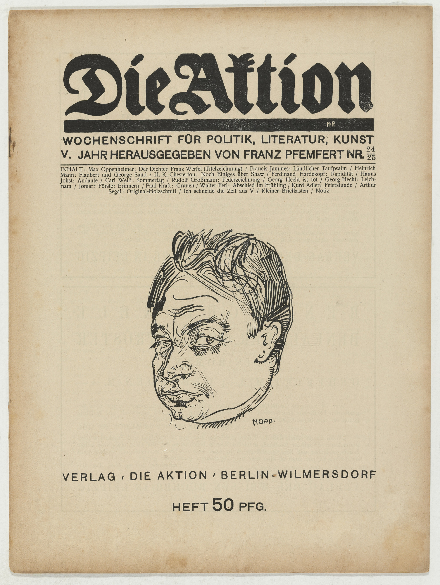 Arthur Segal. Die Aktion, vol. 5, no. 24/25. June 12, 1915