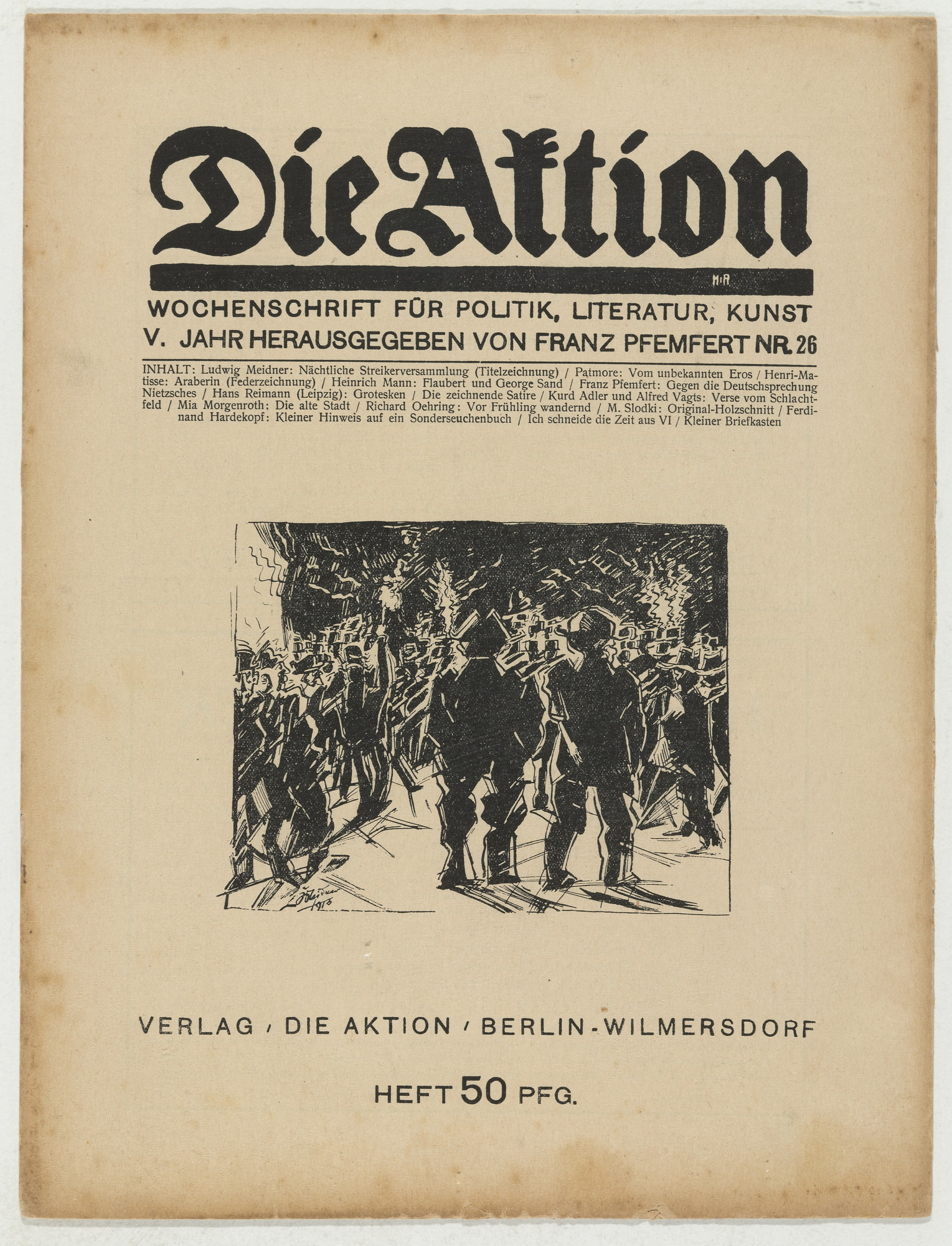 Marcel Slodki. Die Aktion, vol. 5, no. 26. June 26, 1915