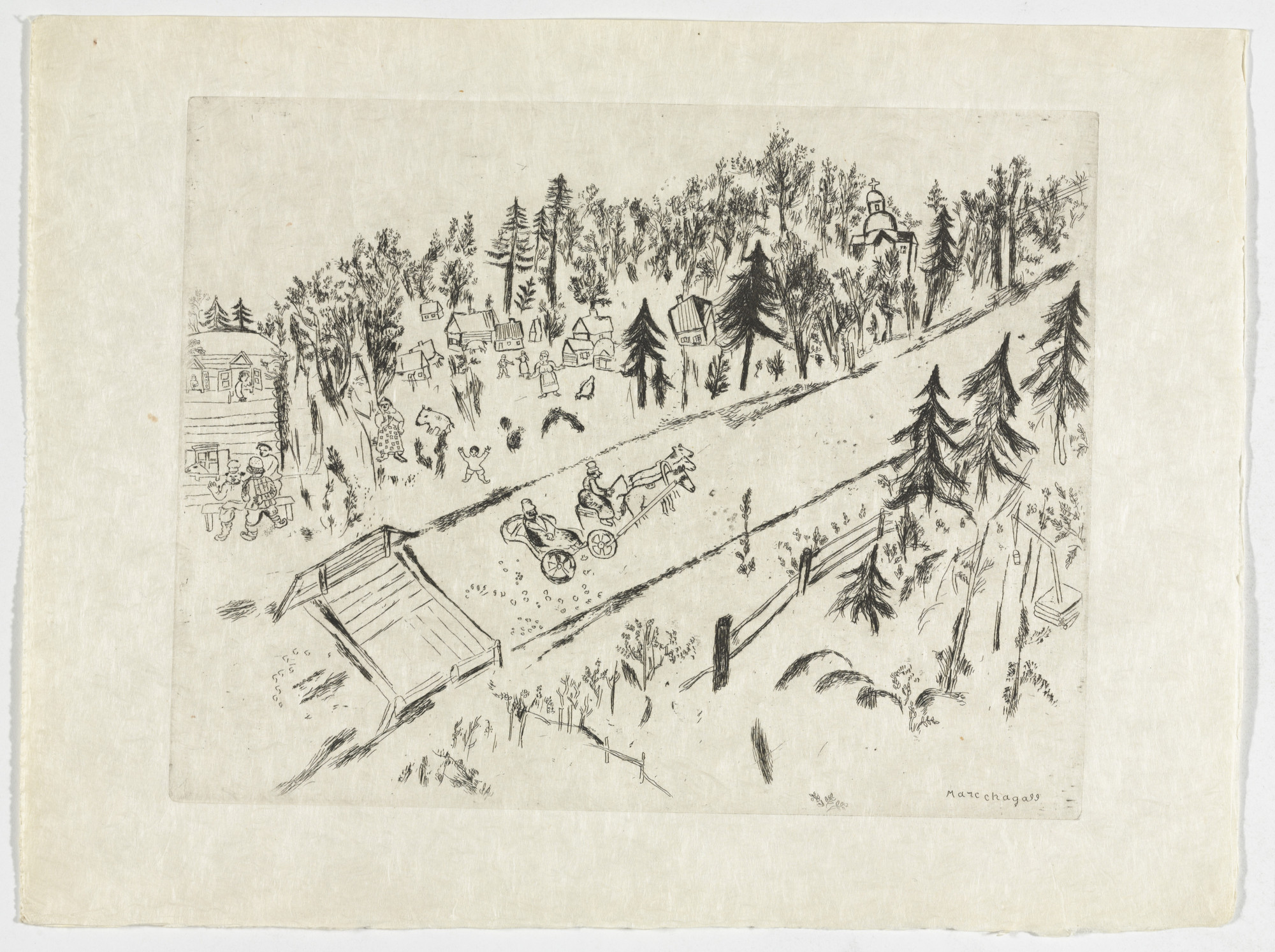 Marc Chagall. On the Road (En Chemin), plate VII (supplementary suite) from Les Âmes mortes. 1923-48