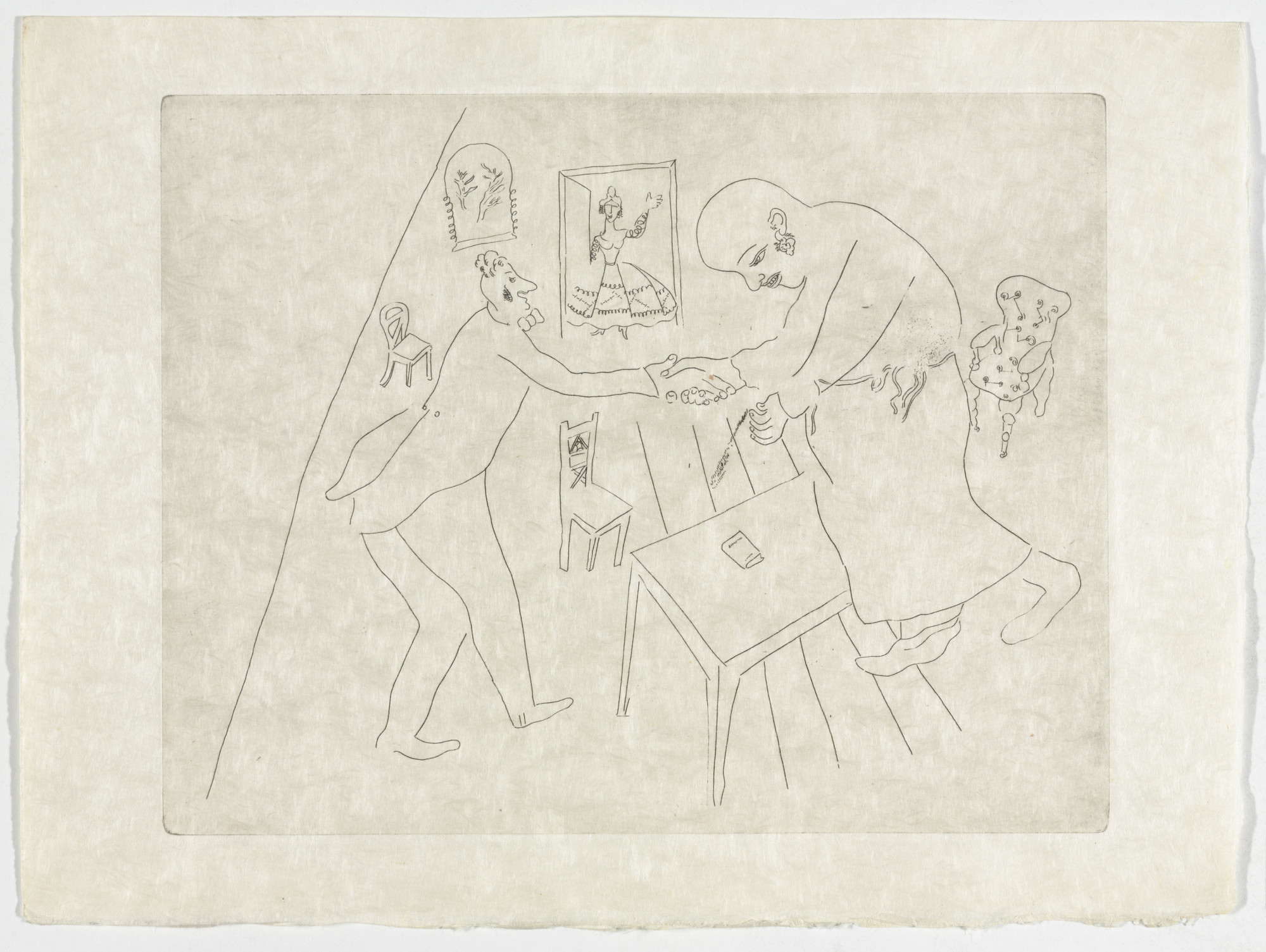 Marc Chagall. Tchitchikov's Farewell to Manilov (Les Adieux de Tchitchikov à Manilov), plate XII (supplementary suite) from Les Âmes mortes. 1923-48