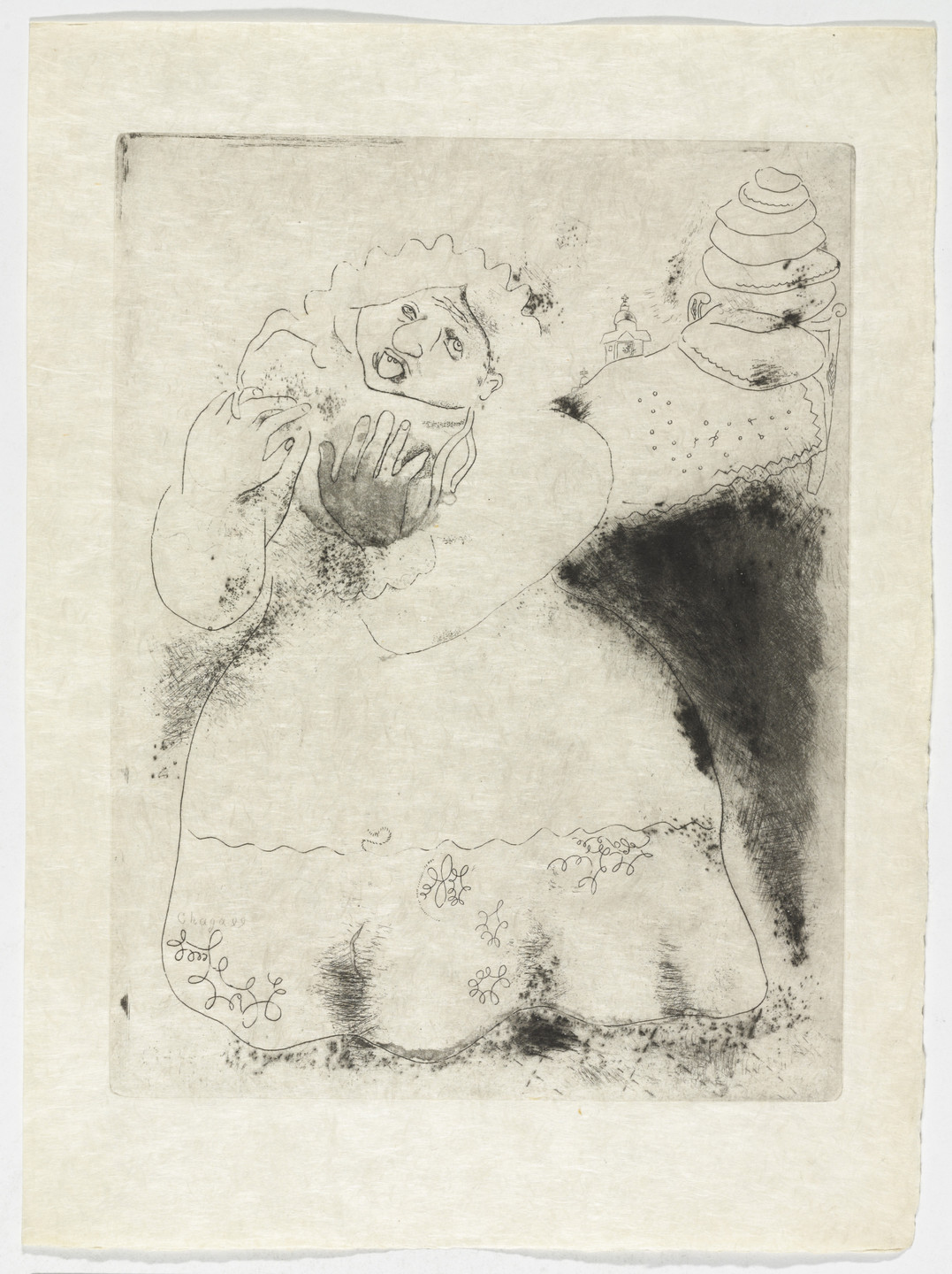 Marc Chagall. Madame Korobotchka, plate XV (supplementary suite) from Les Âmes mortes. 1923-48