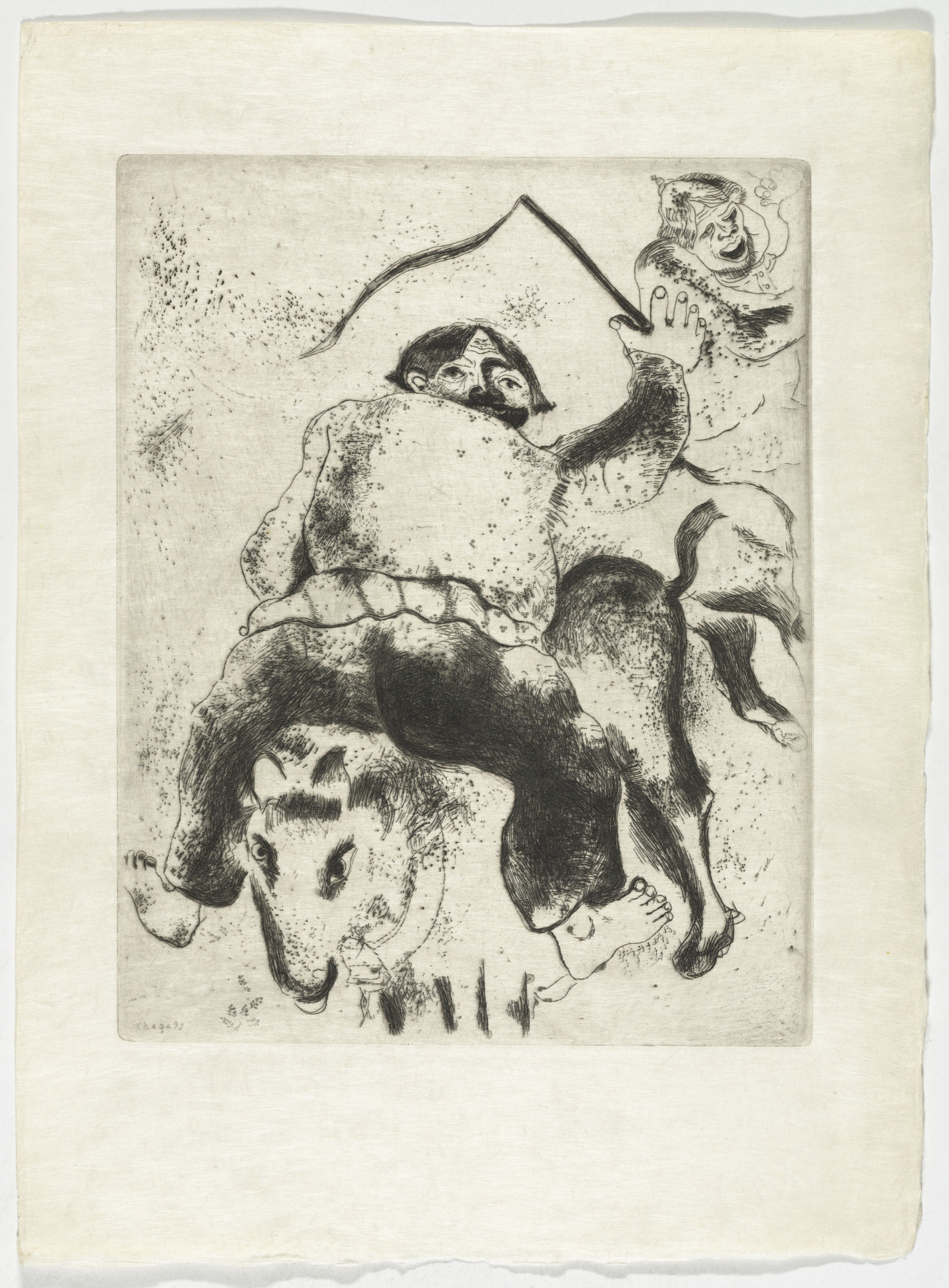 Marc Chagall. Father Mitiaï and Father Miniaï (Le Père Mitiaï et le père miniaï), plate XXIX (supplementary suite) from Les Âmes mortes. 1923-48