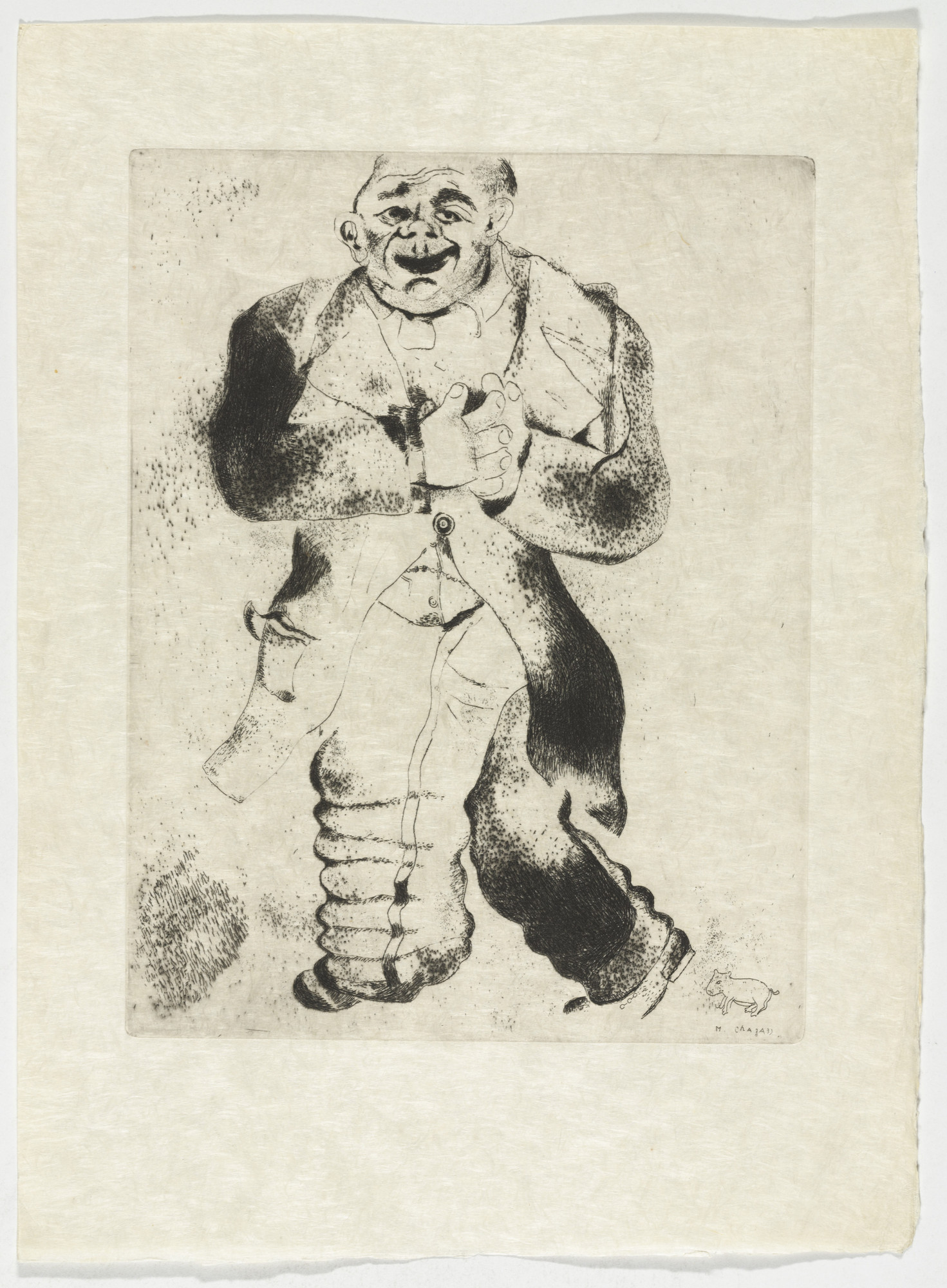 Marc Chagall. Sobakévitch, plate XXXII (supplementary suite) from Les Âmes mortes. 1923-48