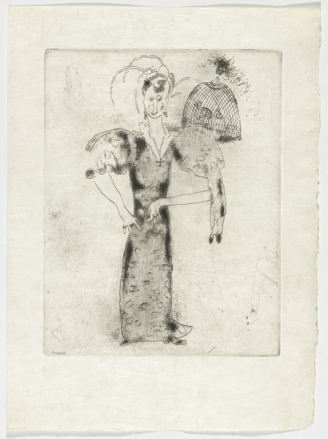 Marc Chagall. Madame Sobakévitch, plate XXXIII (supplementary suite) from Les Âmes mortes. 1923-48