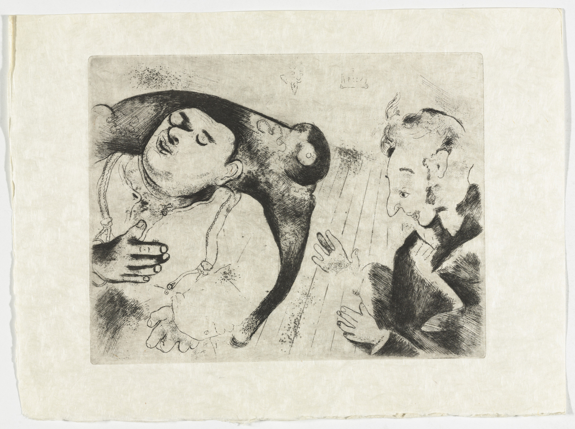 Marc Chagall. Tchitchikov and Sobakévitch Discuss Business (Tchitchikov et Sobakévitch discutent affaires), plate XXXVII (supplementary suite) from Les Âmes mortes. 1923-48