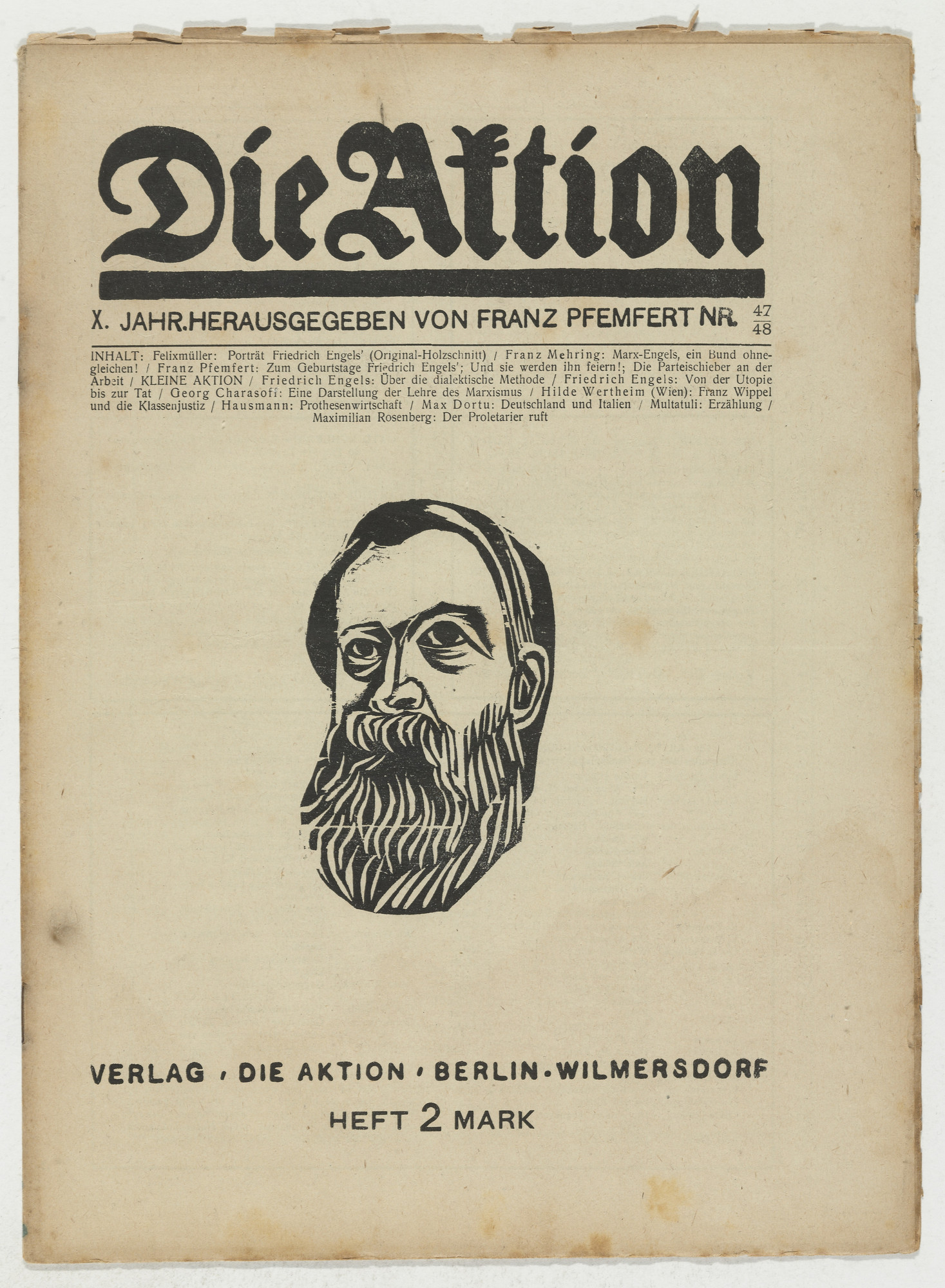 Conrad Felixmüller. Die Aktion, vol. 10, no. 47/48. November 27, 1920
