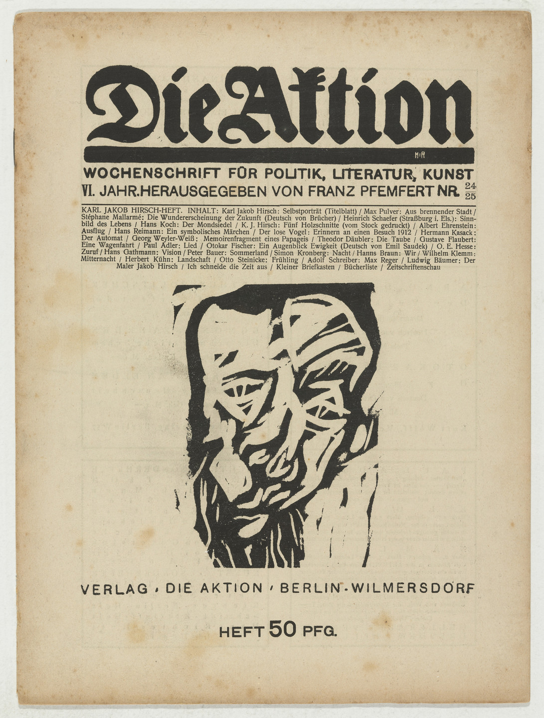 Karl Jacob Hirsch. Die Aktion, vol. 6, no. 24/25. June 17, 1916
