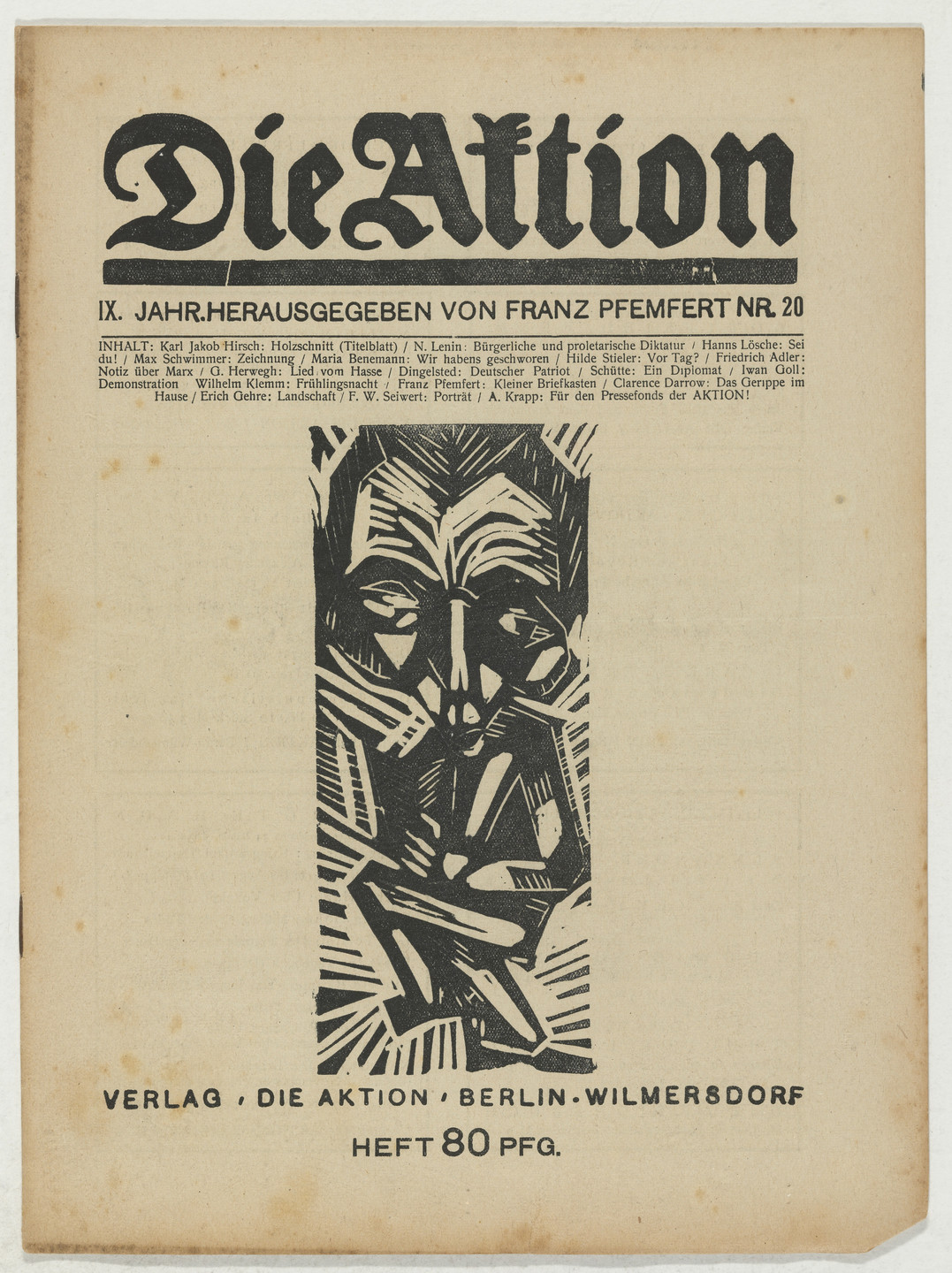 Karl Jacob Hirsch, Erich Gehre, Franz Wilhelm Seiwert, A. Krapp. Die Aktion, vol. 9, no. 20. May 24, 1919