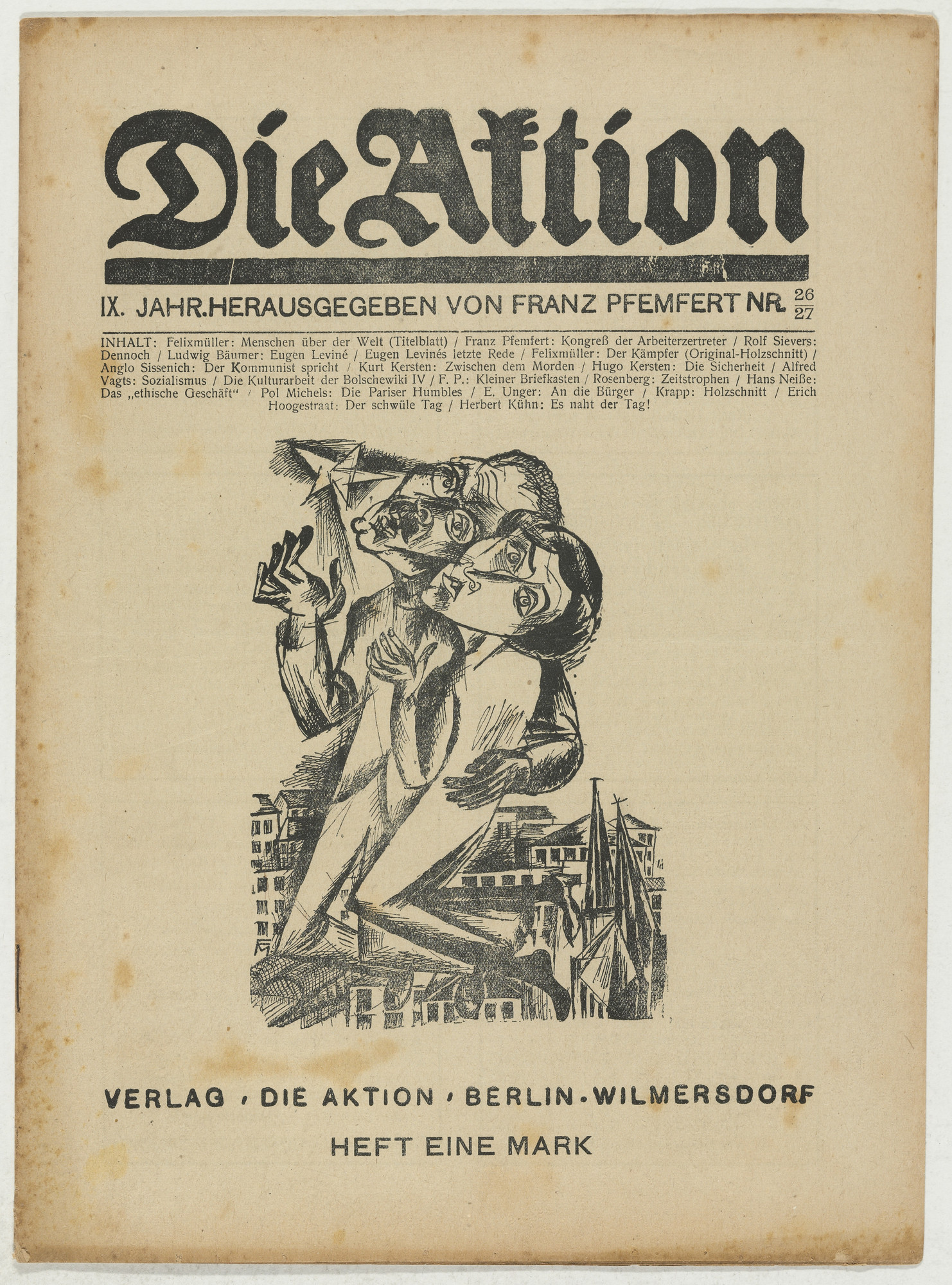 Conrad Felixmüller, A. Krapp. Die Aktion, vol. 9, no. 26/27. July 5, 1919