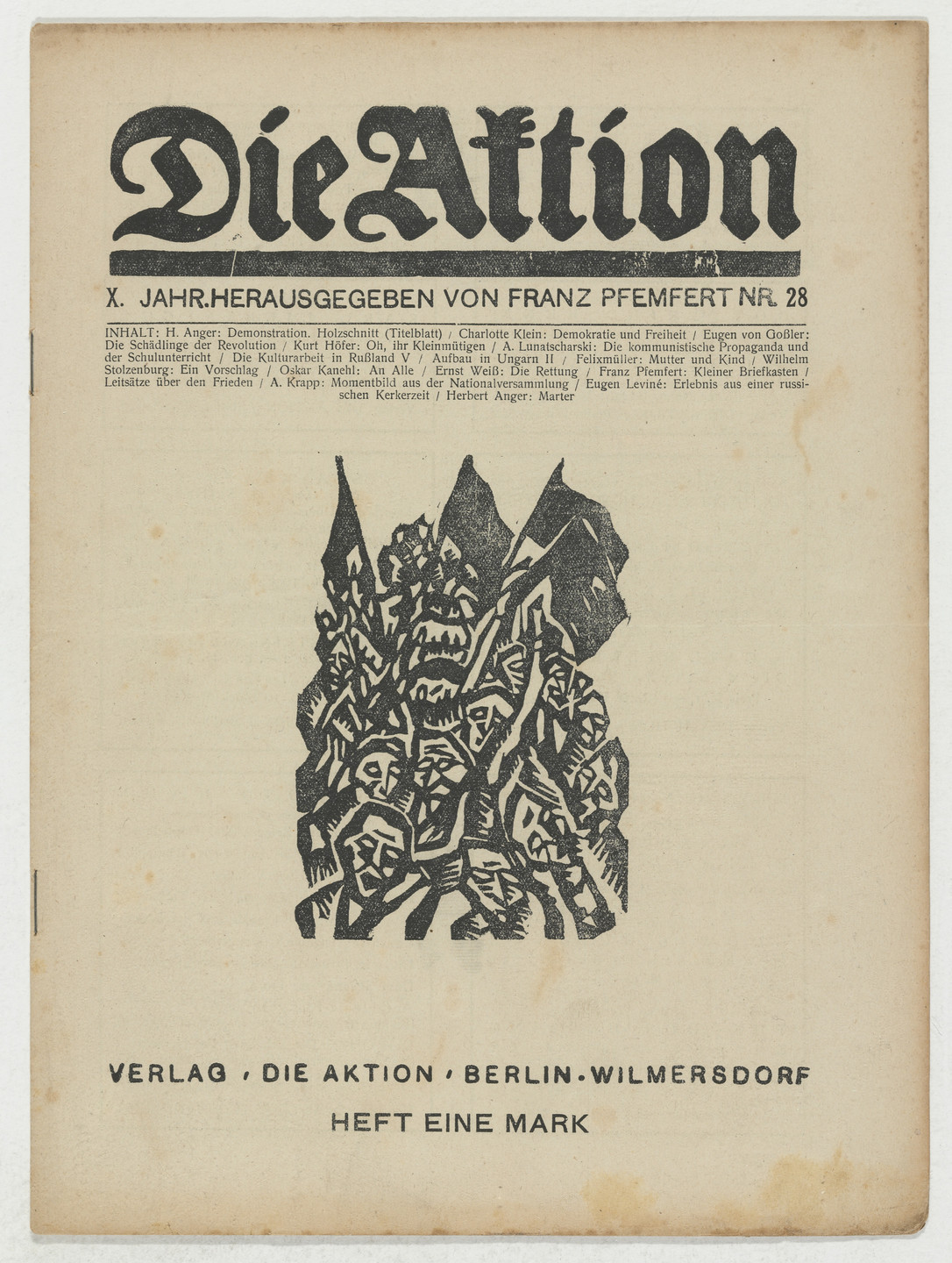 Herbert Anger, Conrad Felixmüller, A. Krapp. Die Aktion, vol. 9, no. 28. July 12, 1919