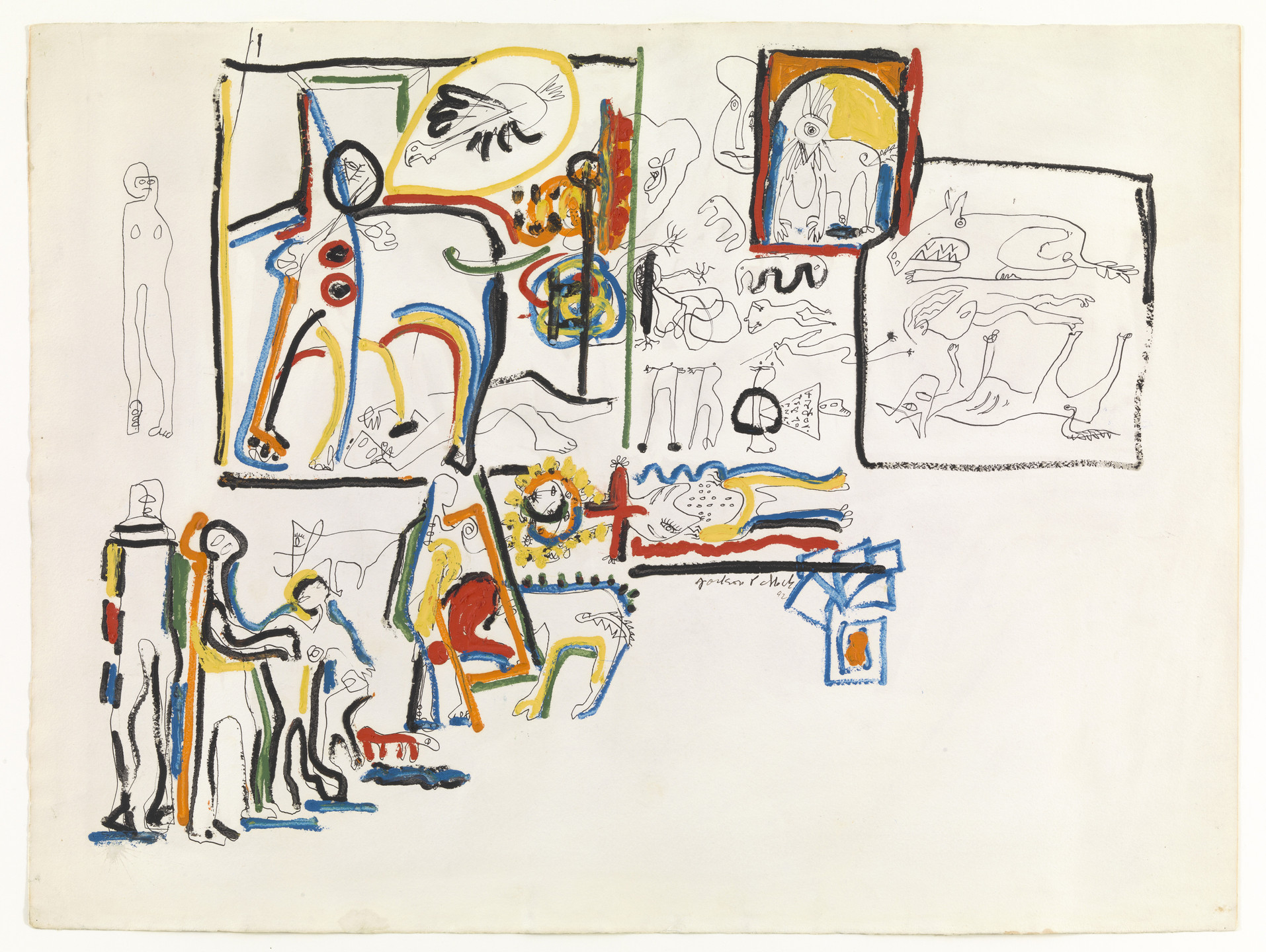Jackson Pollock. Untitled (Animals and Figures). 1942