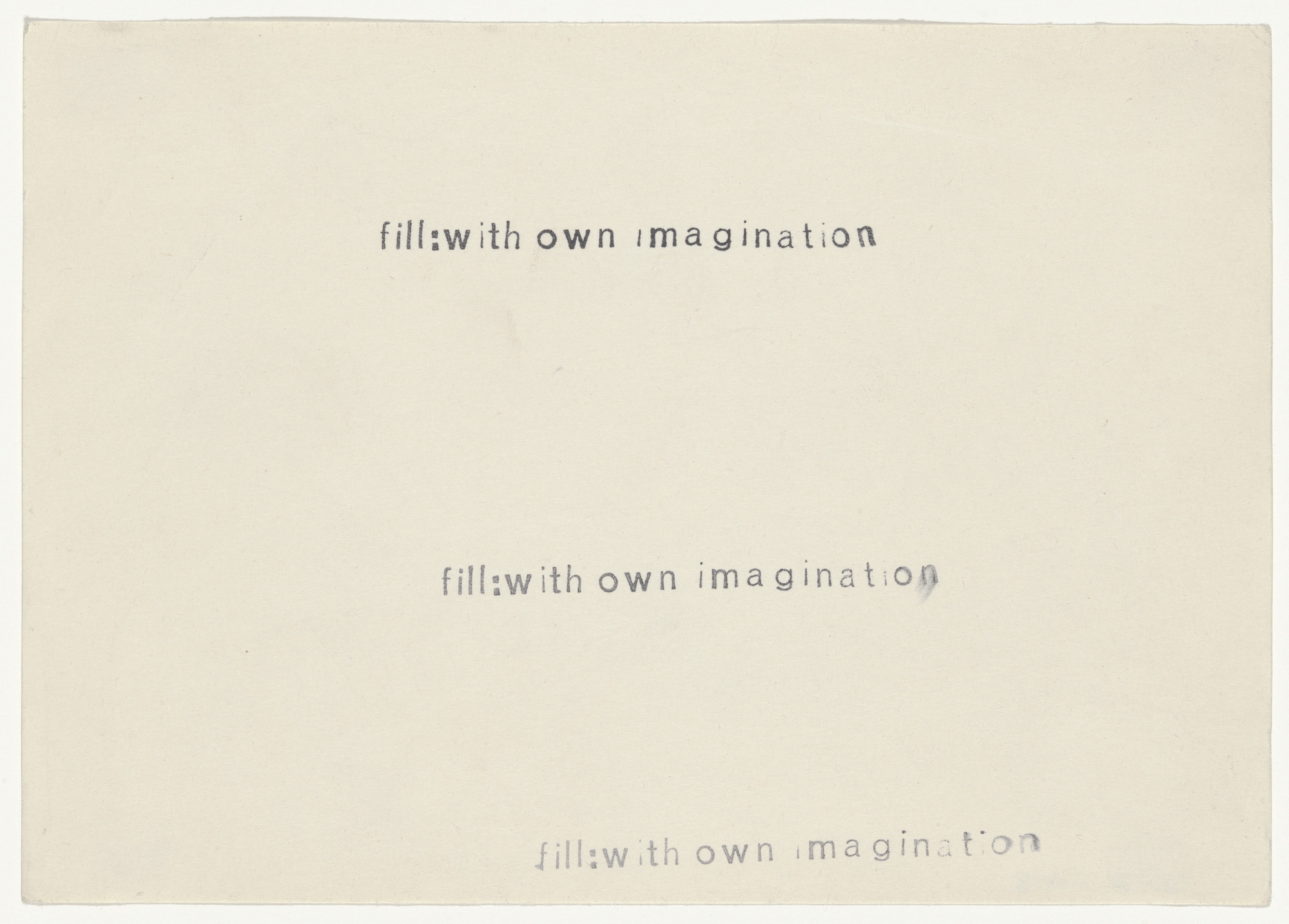 Arthur Köpcke. Reading Work Piece No. 10: fill with own imagination. 1965