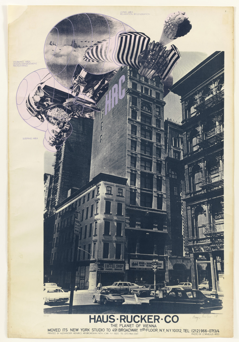 Günter Zamp Kelp, Klaus Pinter. The Planet of Vienna, Rooftop Oasis Project, New York, NY (Poster for the opening of Haus Rucker Studio). 1971
