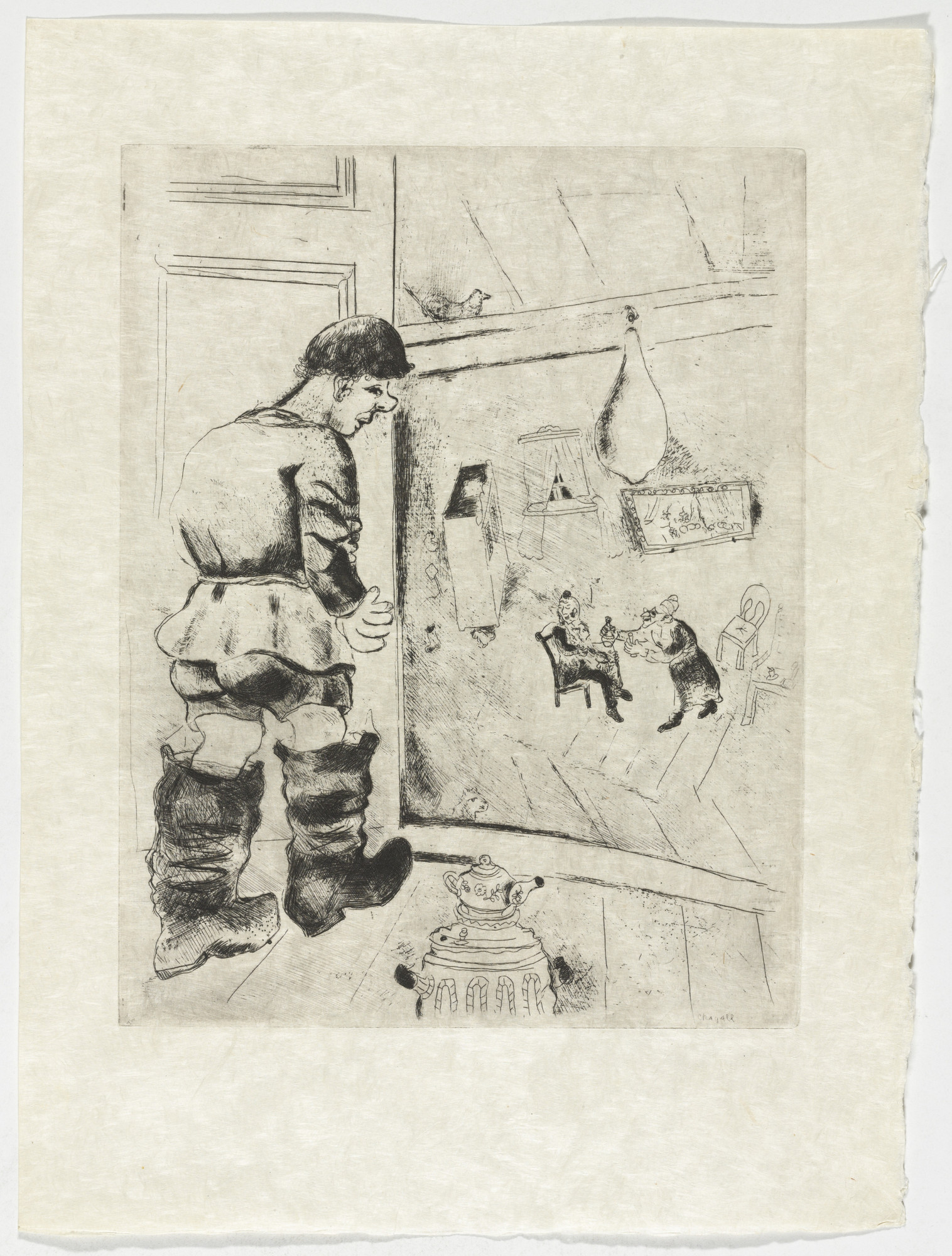 Marc Chagall. Prochka, plate XLIII (supplementary suite) from Les Âmes mortes. 1923-48