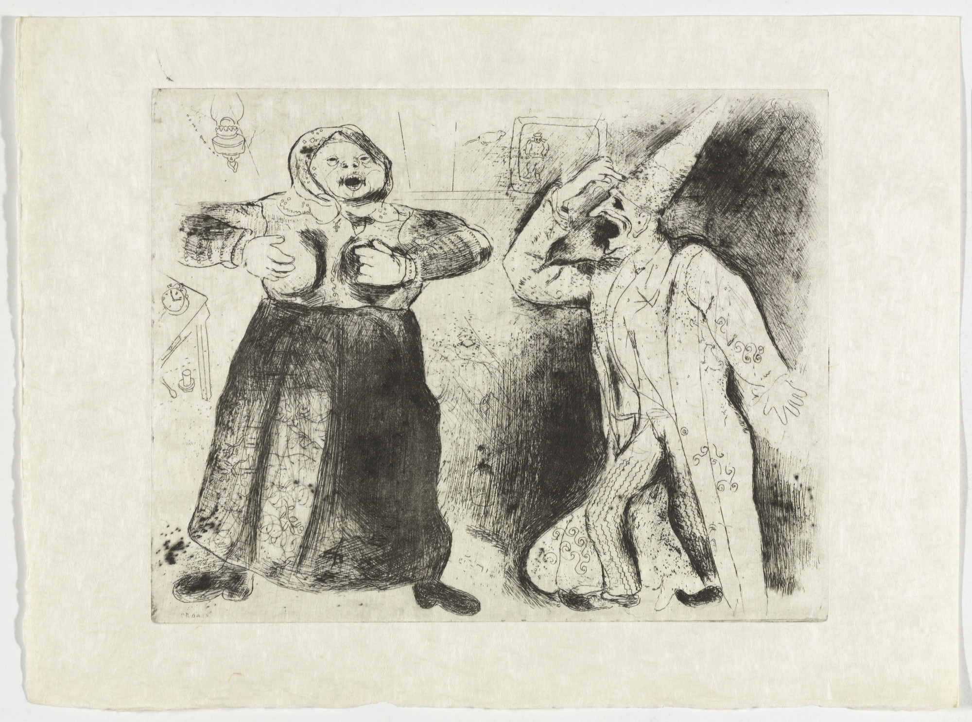 Marc Chagall. Dispute Between Pliouchkine and Mavra (Dispute de Pliouchkine et de Mavra), plate XLVI (supplementary suite) from Les Âmes mortes. 1923-48