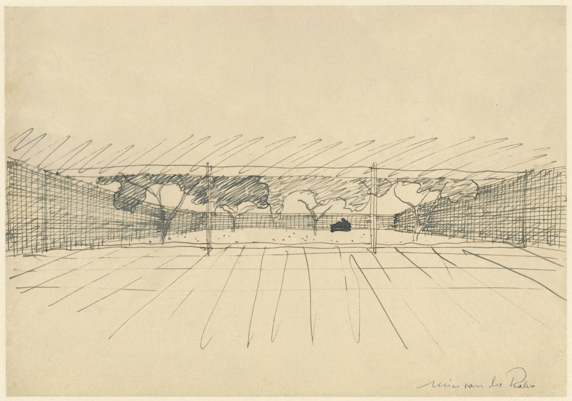 Ludwig Mies van der Rohe. Court House, project, Perspective sketch with mural. 1934