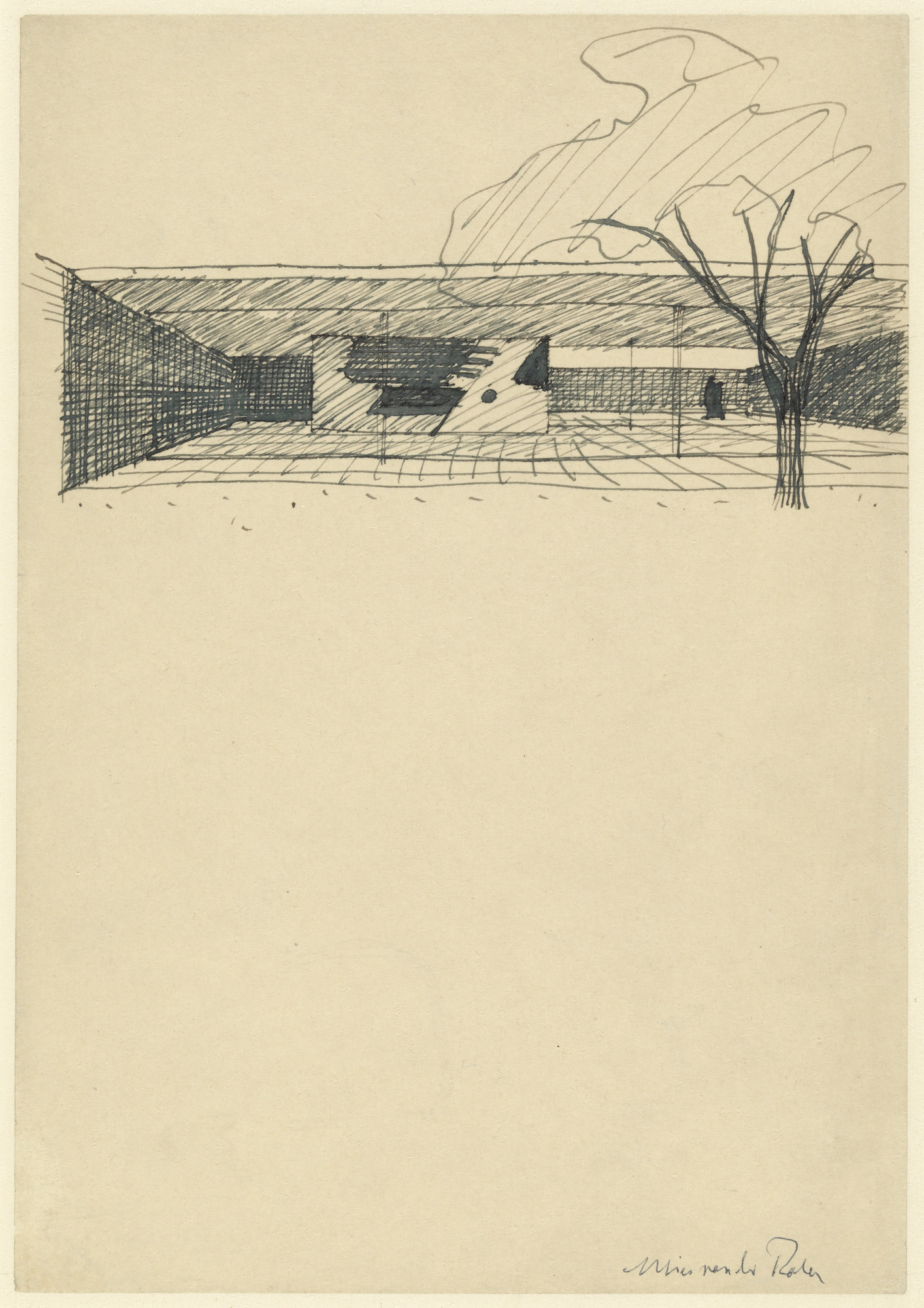 Ludwig Mies van der Rohe. Court House, project, Perspective sketch with garden sculpture. 1935