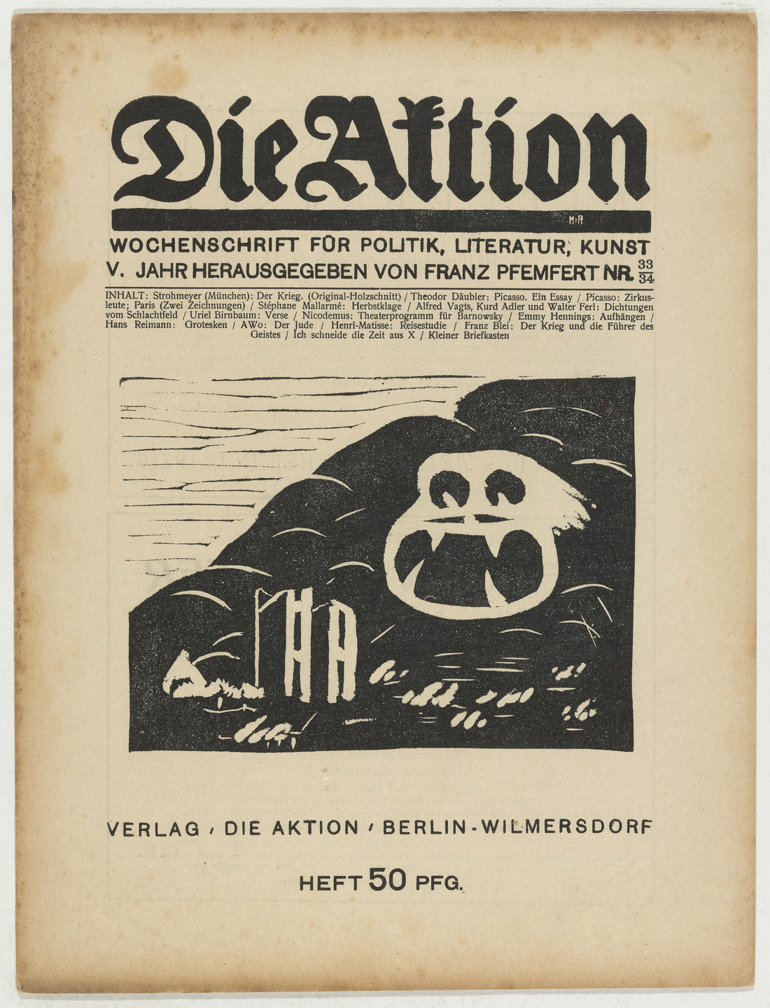 Ottheinrich Strohmeyer. Die Aktion, vol. 5, no. 33/34. August 21, 1915