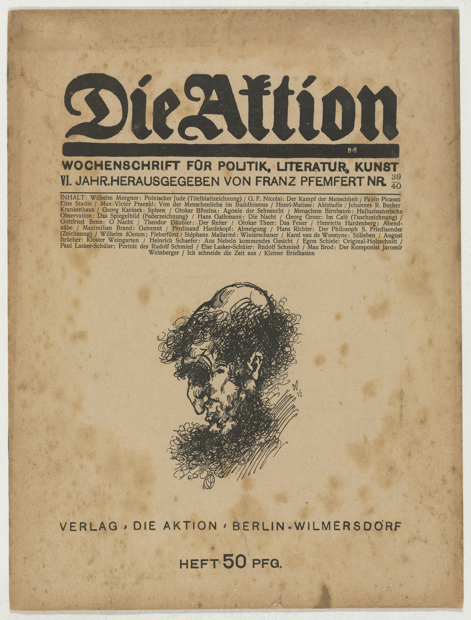 Egon Schiele. Die Aktion, vol. 6, no. 39/40. September 30, 1916