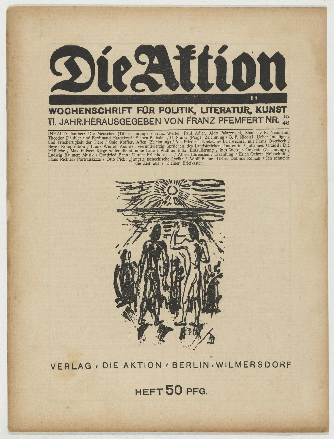 Erich Gehre. Die Aktion, vol. 6, no. 45/46. November 11, 1916