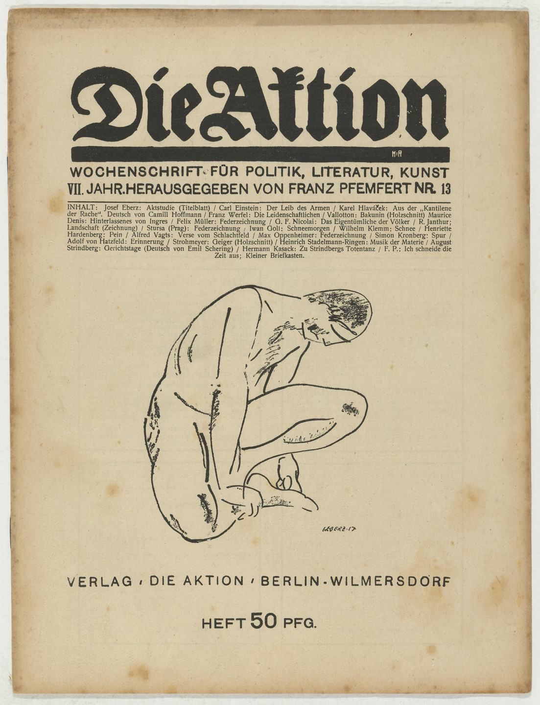 Ottheinrich Strohmeyer. Die Aktion, vol. 7, no. 13. March 30, 1917