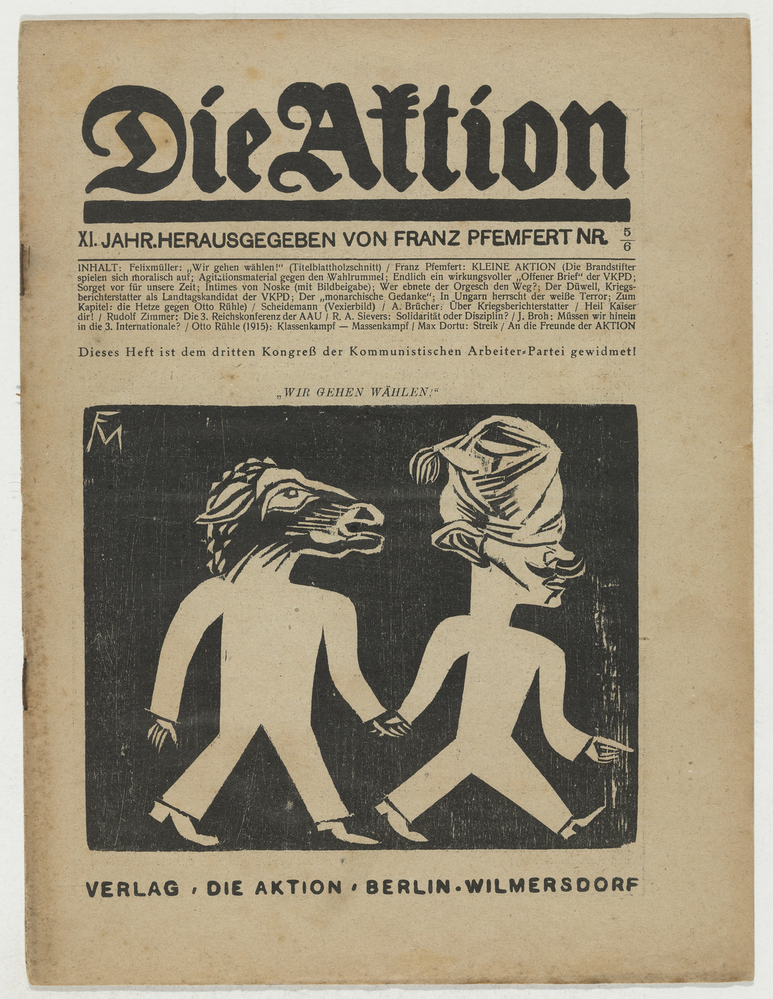 Conrad Felixmüller. Die Aktion, vol. 11, no. 5/6. February 5, 1921