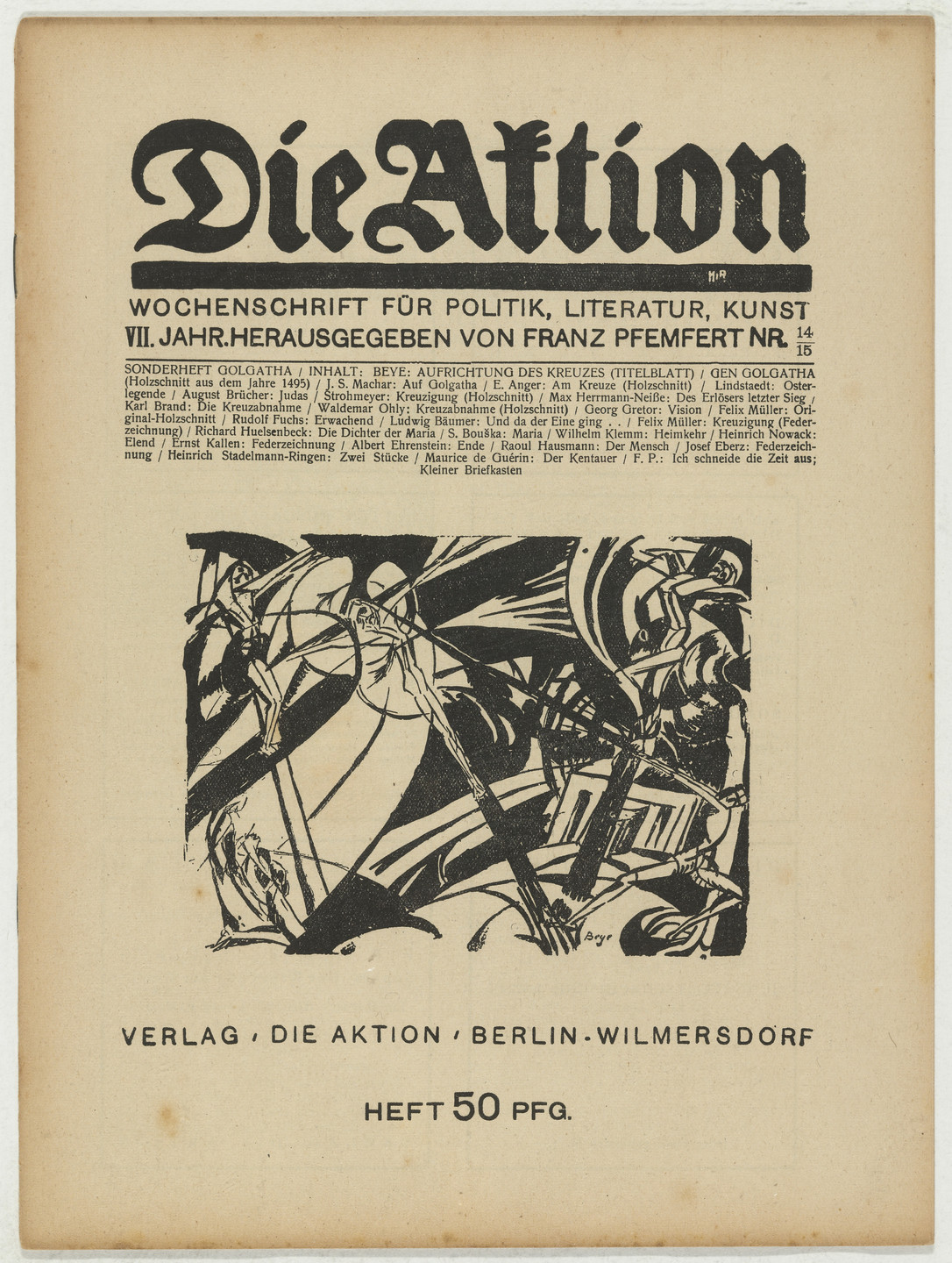 Herbert Anger, Ottheinrich Strohmeyer, Waldemar Ohly, Conrad Felixmüller. Die Aktion, vol. 7, no. 14/15. April 7, 1917