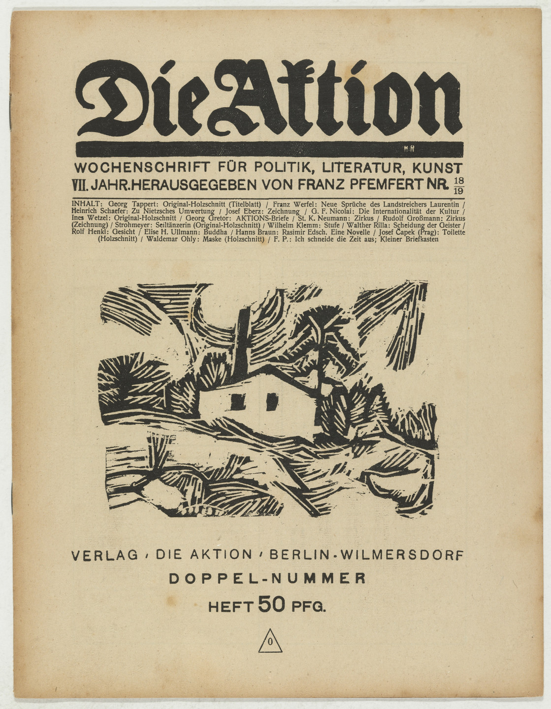 Georg Tappert, Ines Wetzel, Ottheinrich Strohmeyer, Josef Capek, Waldemar Ohly. Die Aktion, vol. 7, no. 18/19. May 5, 1917