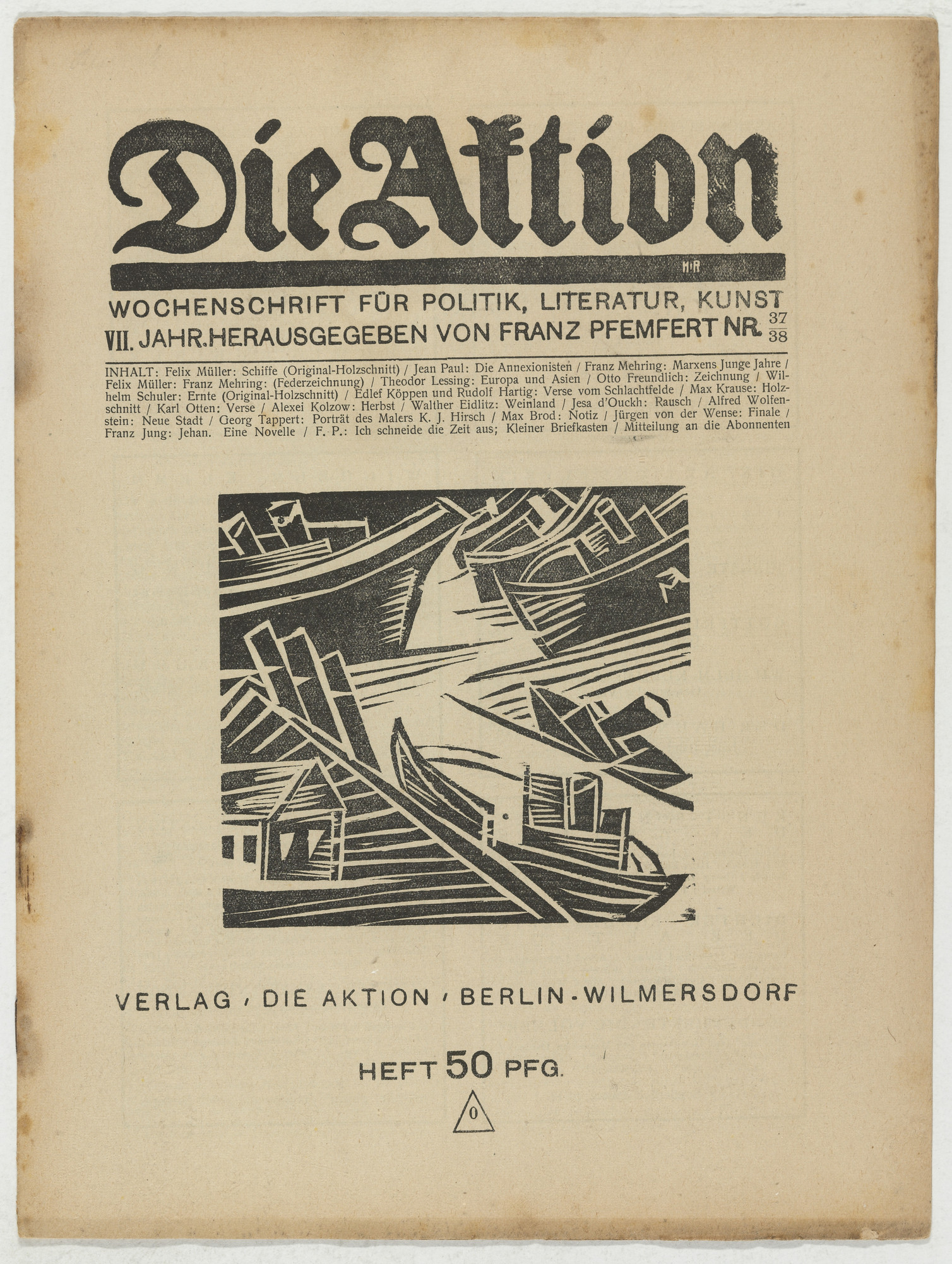Conrad Felixmüller, Wilhelm Schuler. Die Aktion, vol. 7, no. 37/38. September 22, 1917