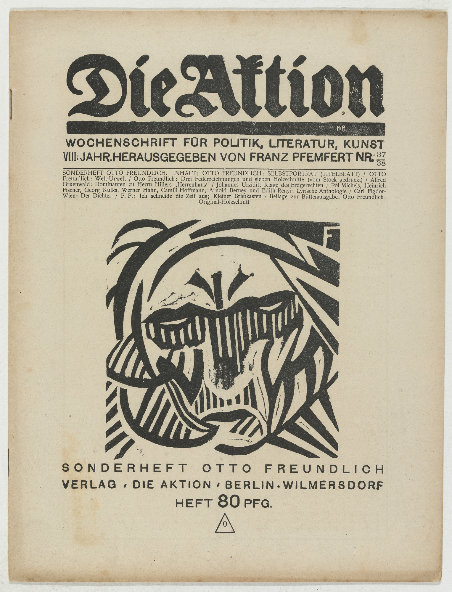 Otto Freundlich. Die Aktion, vol. 8, no. 37⁄38. September 21, 1918