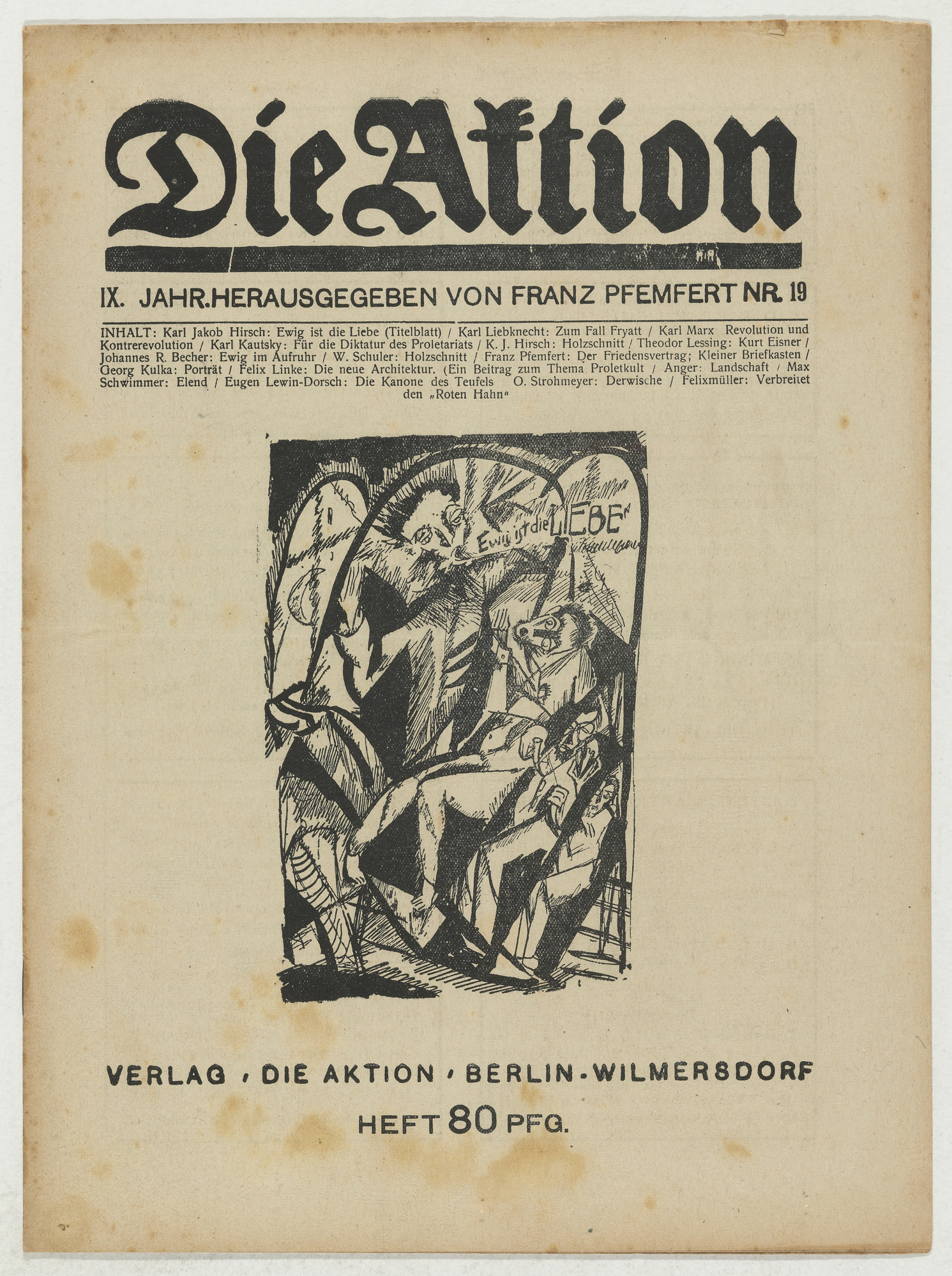 Karl Jacob Hirsch, Wilhelm Schuler, E. Anger, Conrad Felixmüller. Die Aktion, vol. 9, no. 19. May 17, 1919