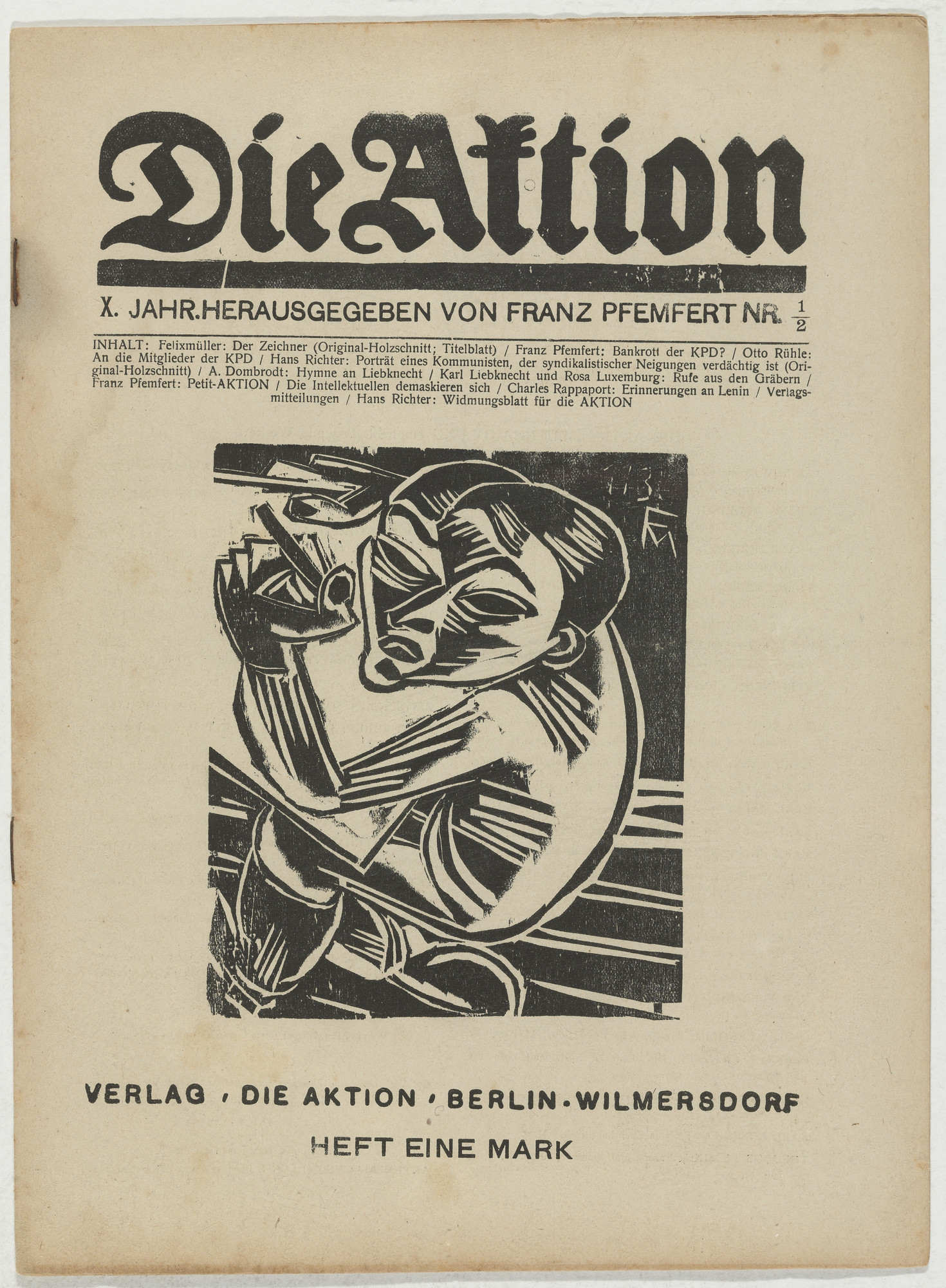 Conrad Felixmüller, Hans Richter. Die Aktion, vol. 10, no. 1⁄2. January 10, 1920