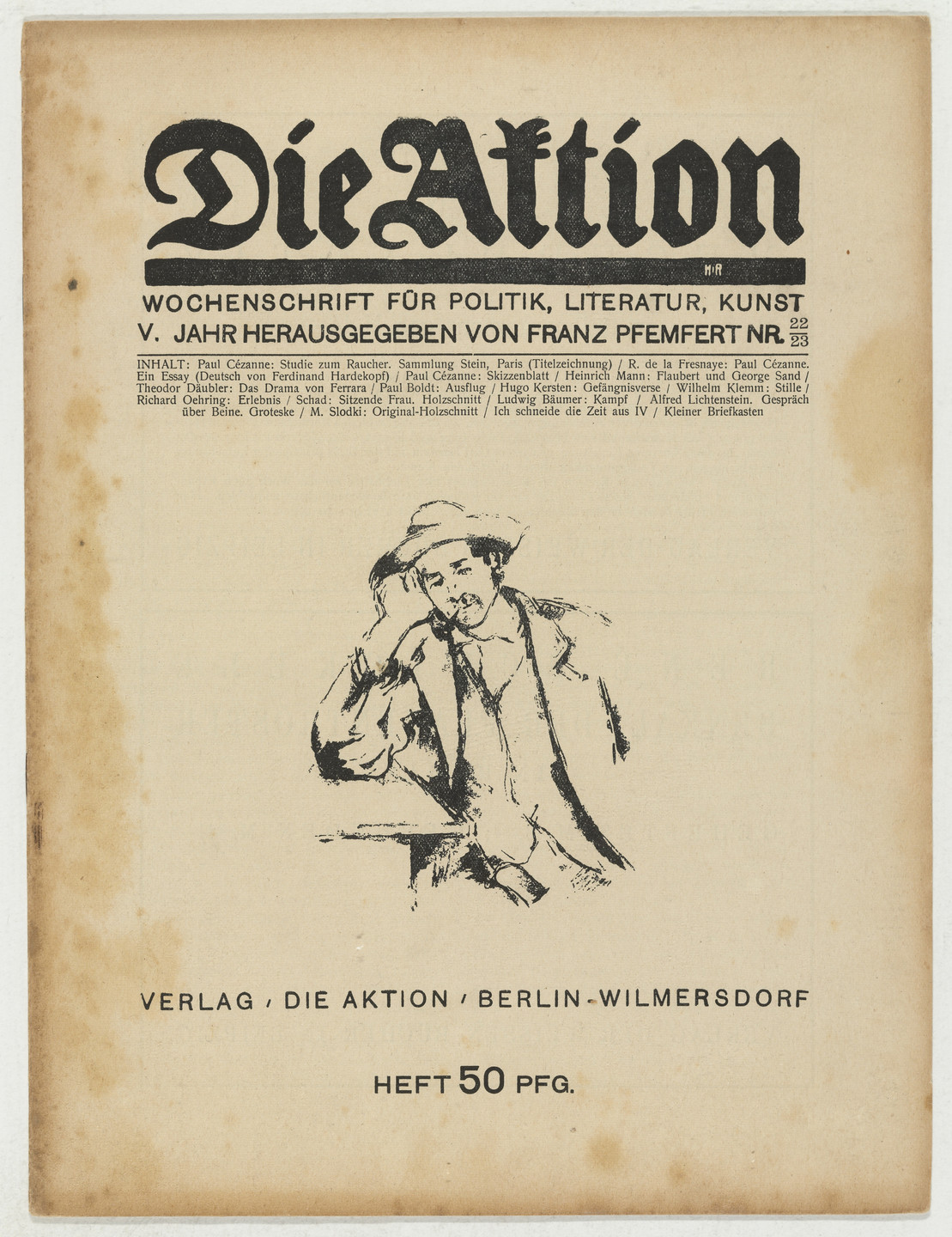 Christian Schad, Marcel Slodki. Die Aktion, vol. 5, no. 22/23. May 29, 1915