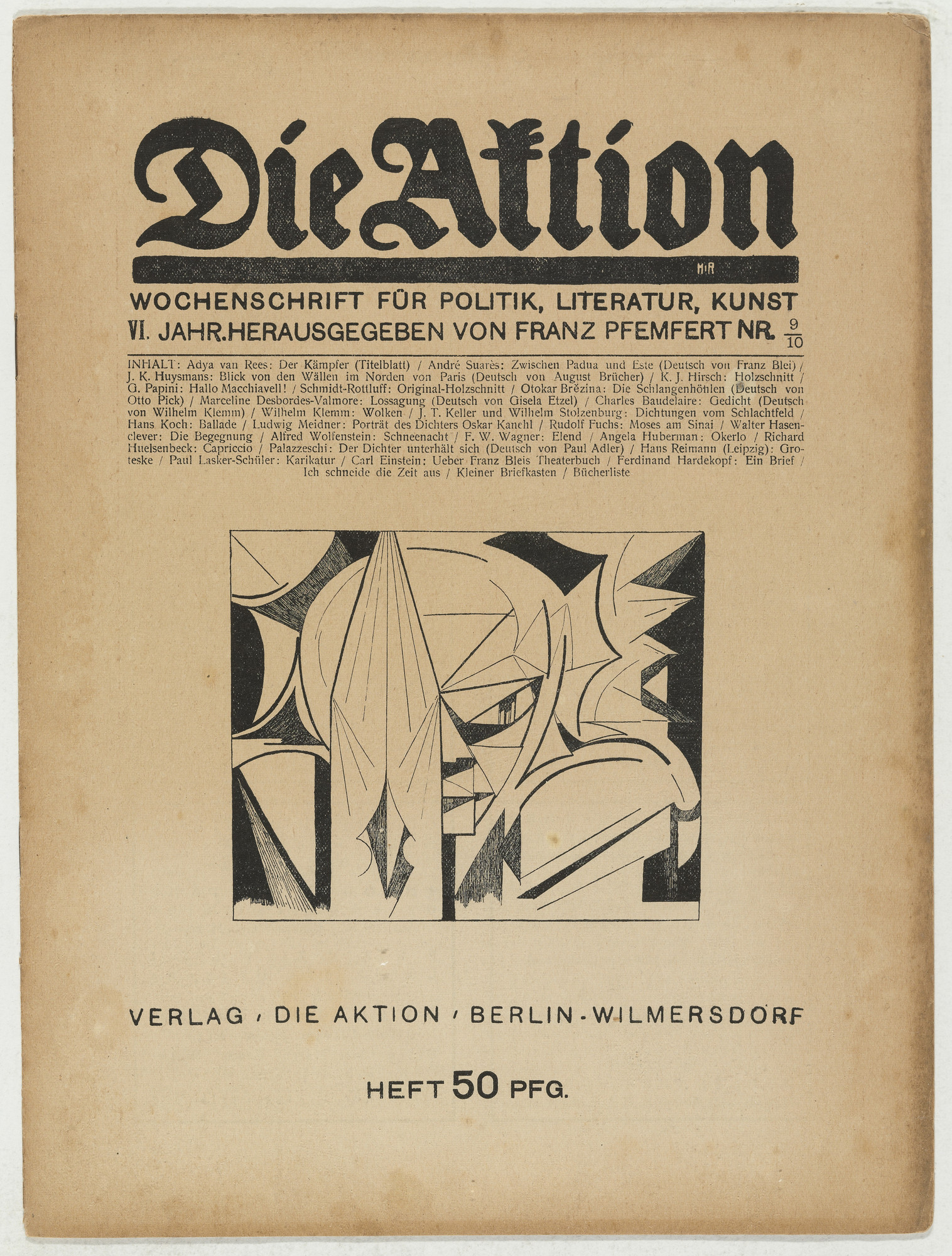 Karl Jacob Hirsch, Karl Schmidt-Rottluff. Die Aktion, vol. 6, no. 9/10. March 4, 1916