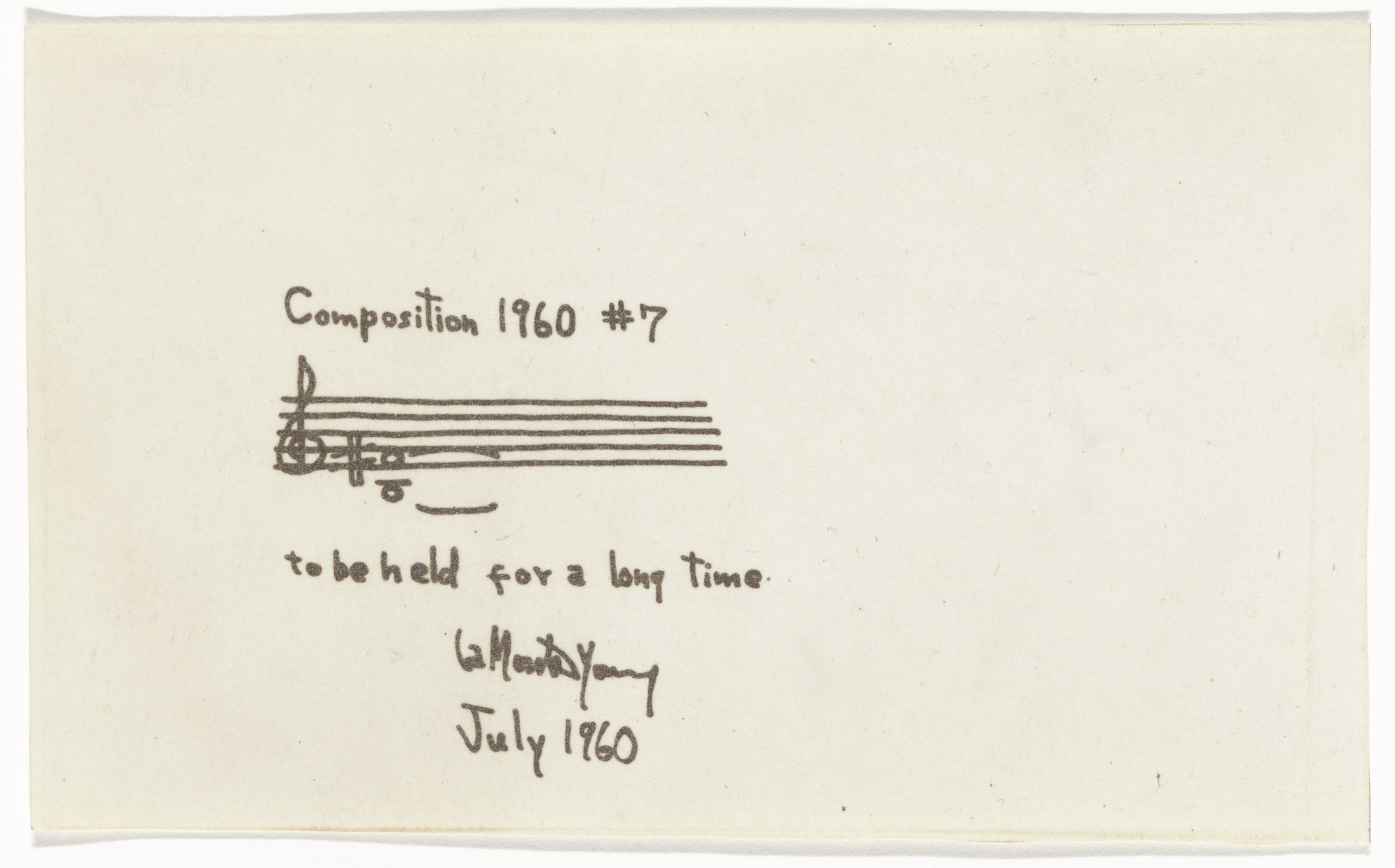 La Monte Young. Composition 1960 #7. 1960
