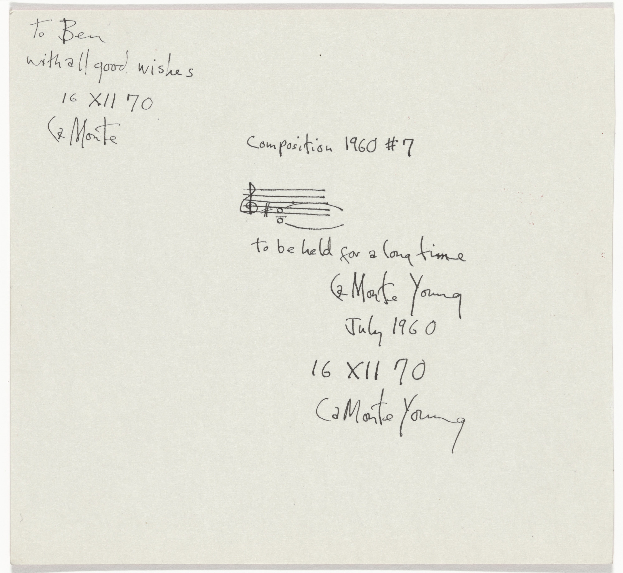 La Monte Young. Composition 1960 #7. 1960/1970