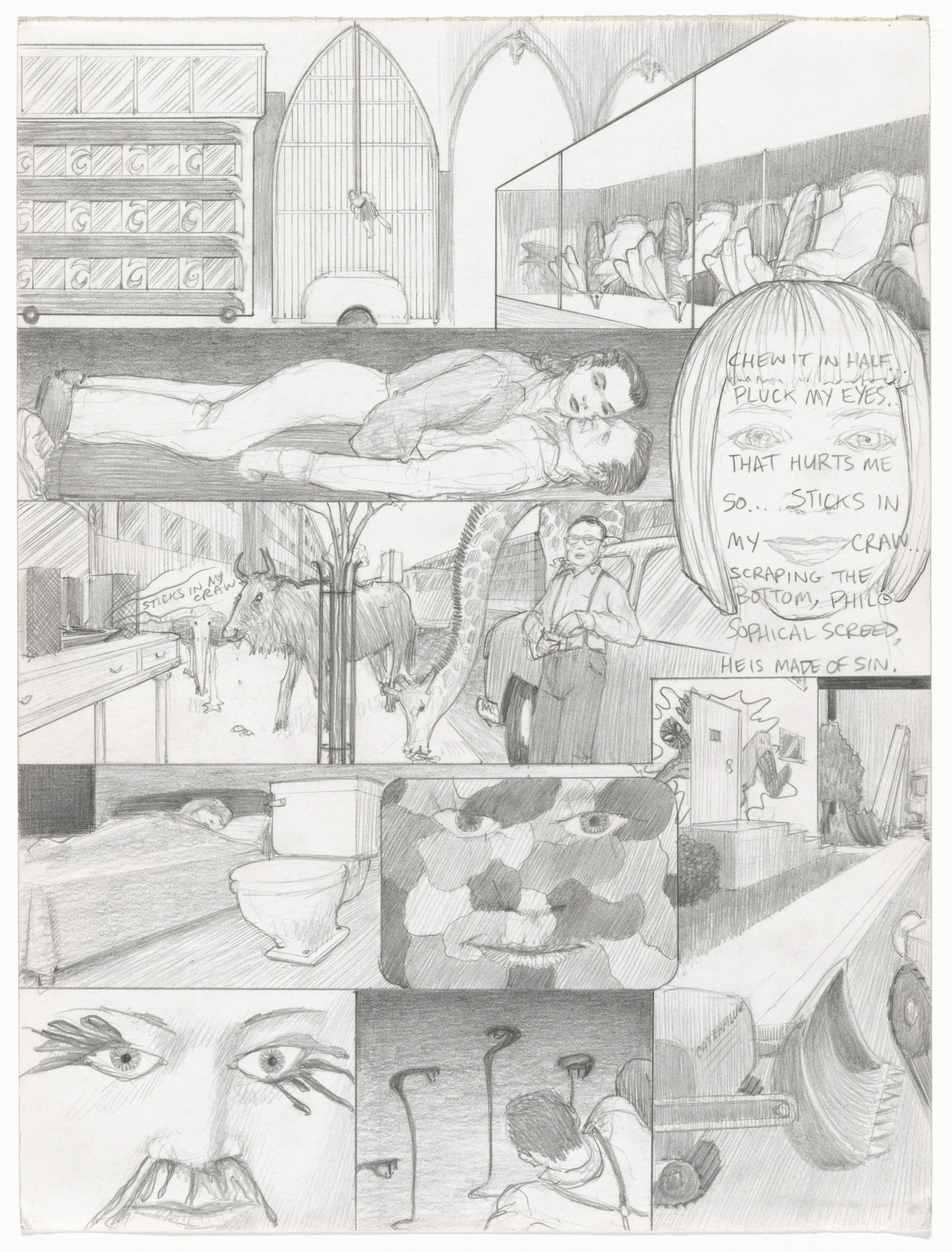 Jim Shaw. Dream Drawing (In Reno there was a Titanic mockup where a girl...). 1998
