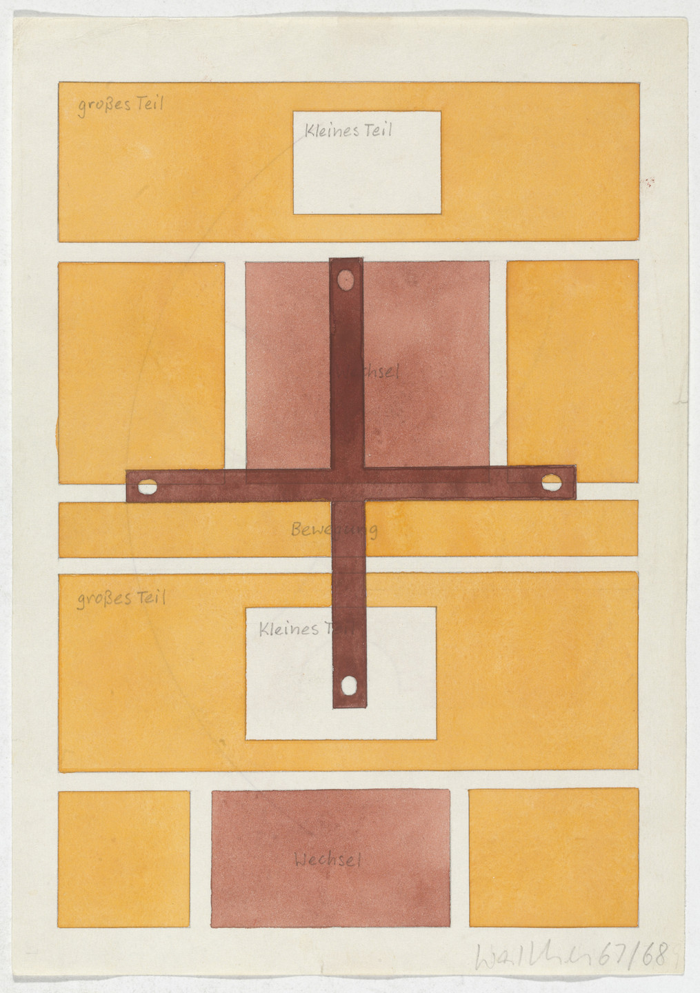 Franz Erhard Walther. Work Drawing: Cross Connecting Form. 1967/1968