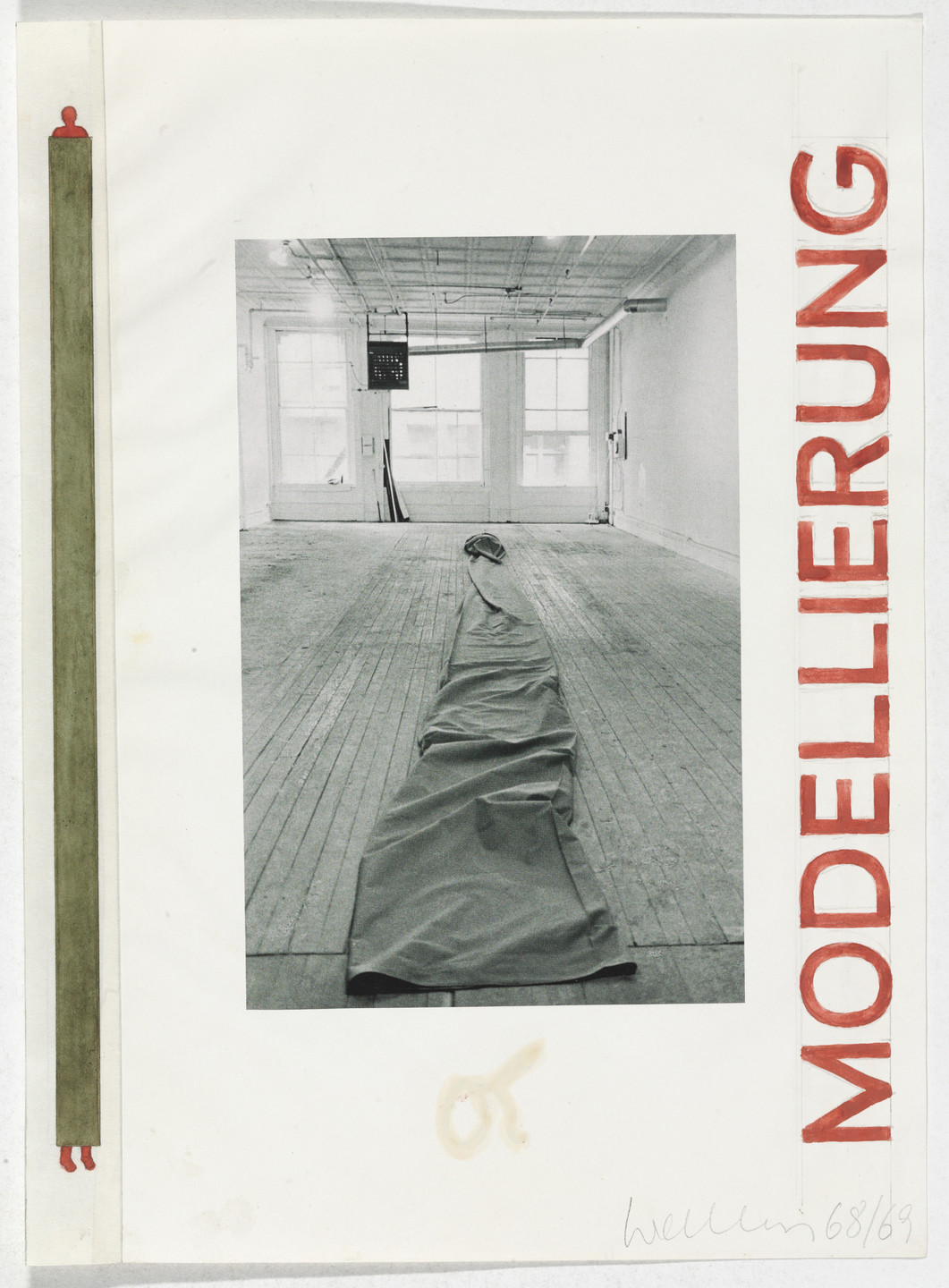 Franz Erhard Walther. Work Drawing: Cloth Tube. 1968/1969