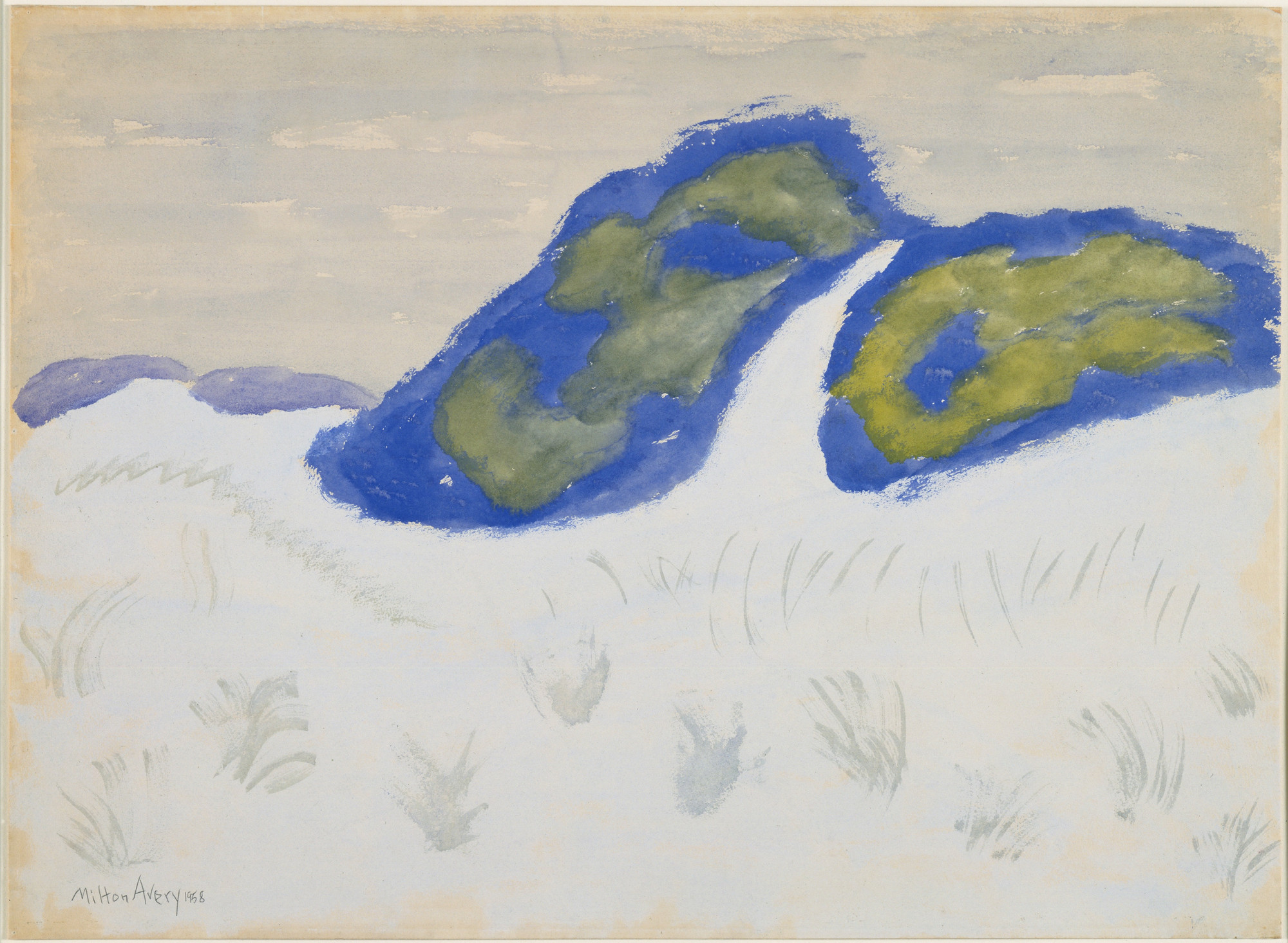 Milton Avery. Dune and Bushes. 1958