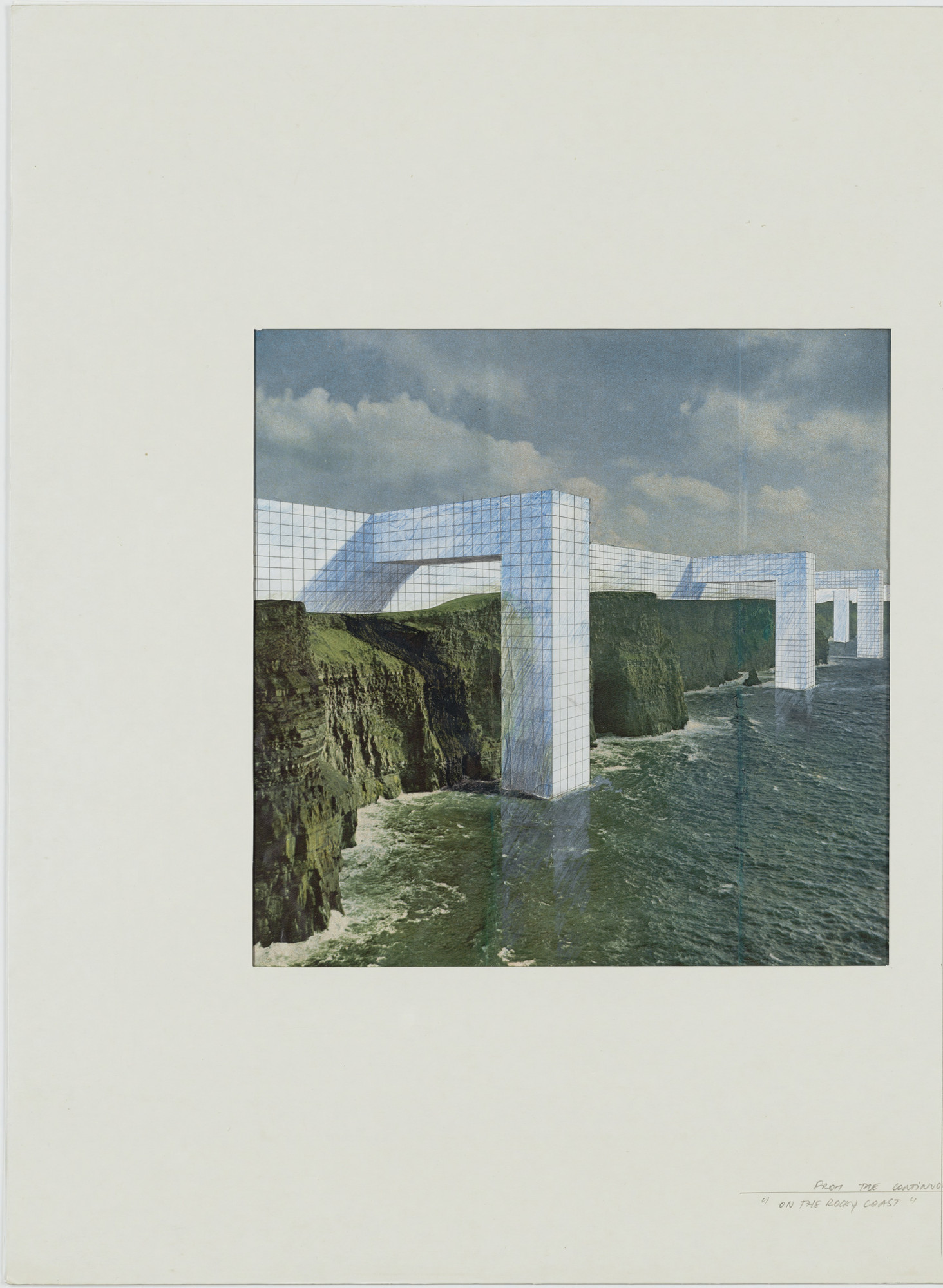 Superstudio, Gian Piero Frassinelli, Alessandro Magris, Roberto Magris, Cristiano Toraldo di Francia, Adolfo Natalini. The Continuous Monument: On the Rocky Coast, project (Perspective). 1969