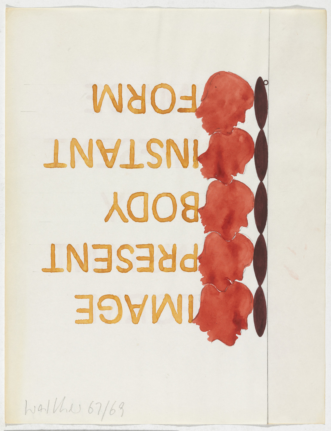 Franz Erhard Walther. Work Drawing: Forehead Piece. 1967/1969