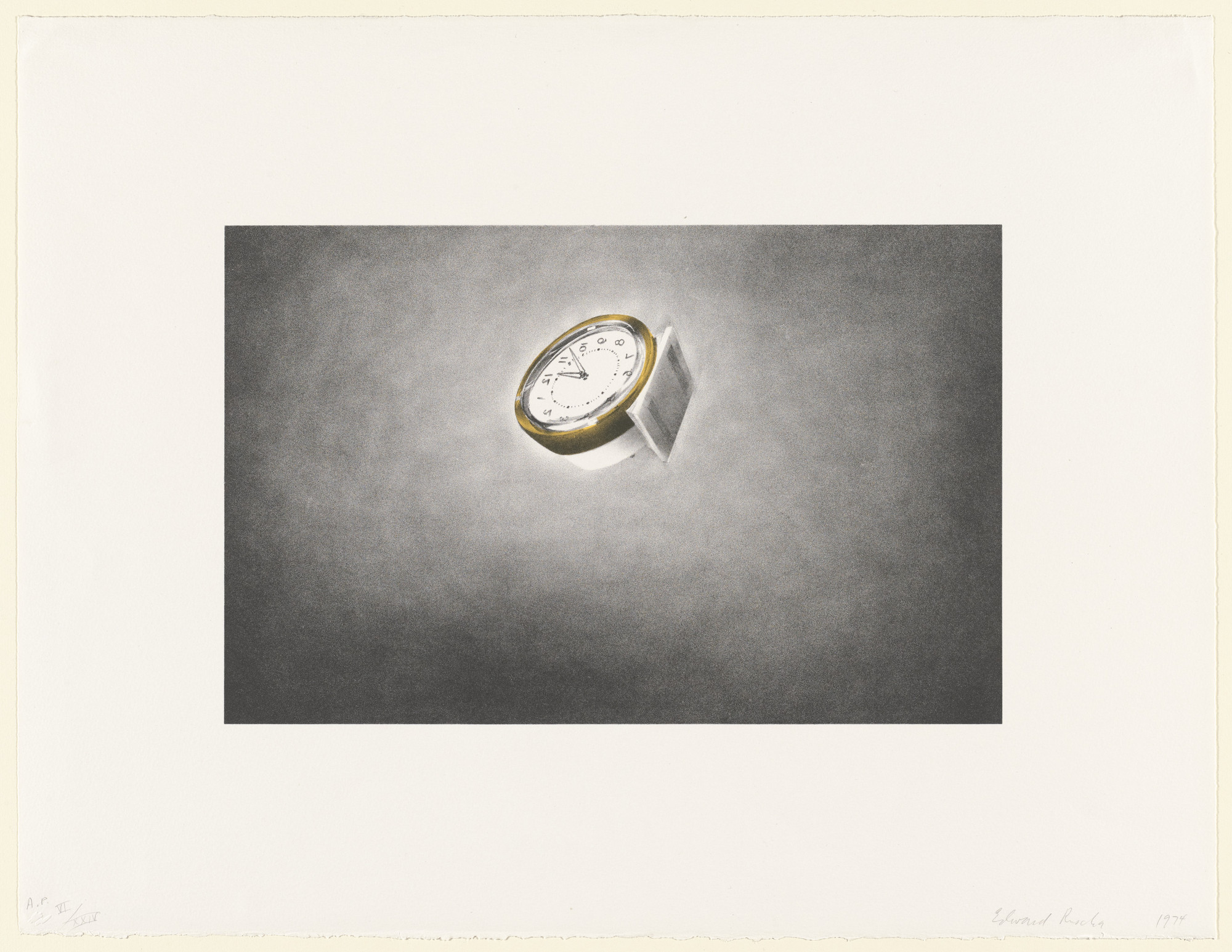 Edward Ruscha. Clock from Domestic Tranquility. 1974
