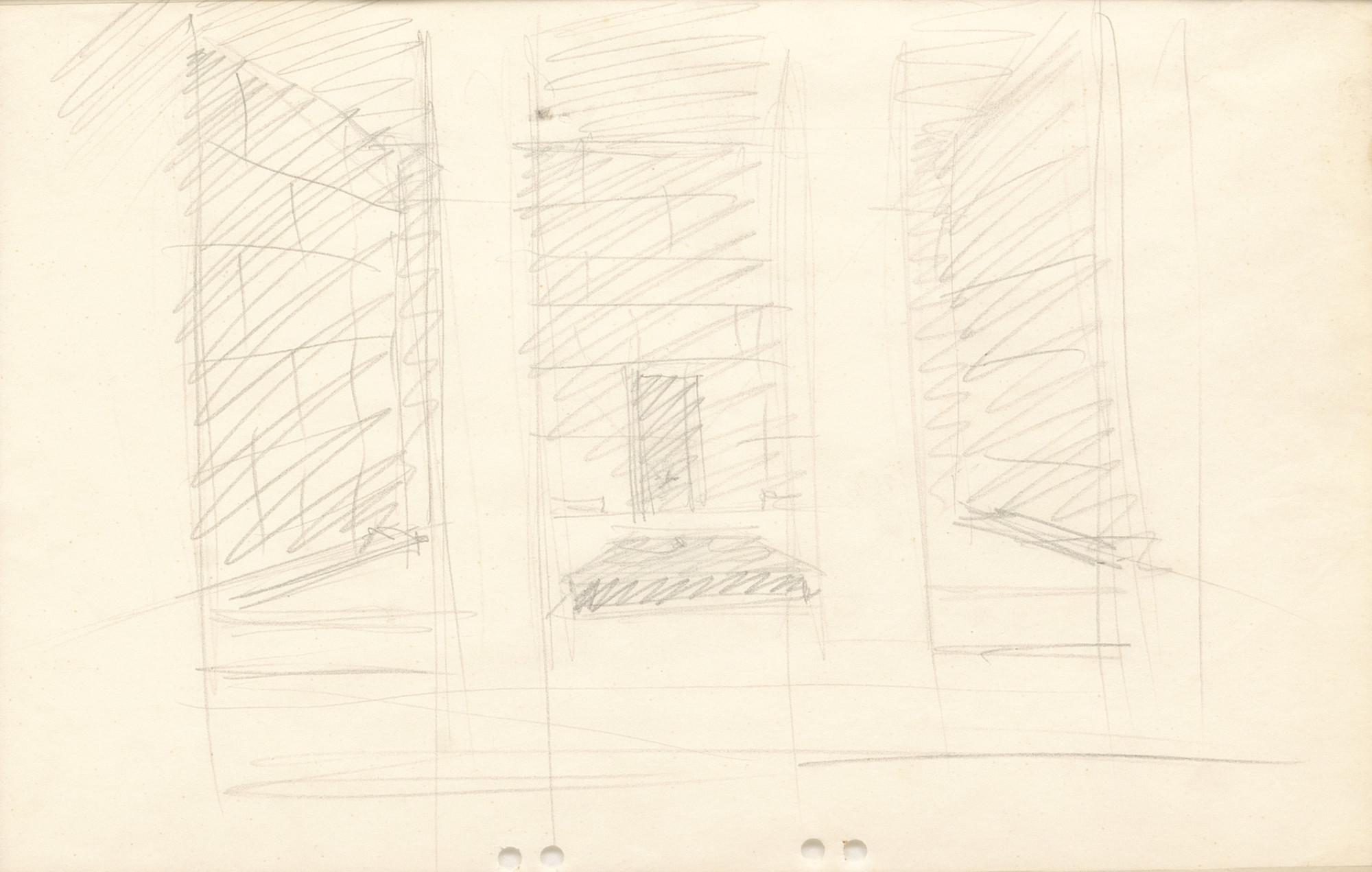 Ludwig Mies van der Rohe. Neue Wache War Memorial Project, Berlin-Mitte, Germany, Sketch interior perspective view.. 1930