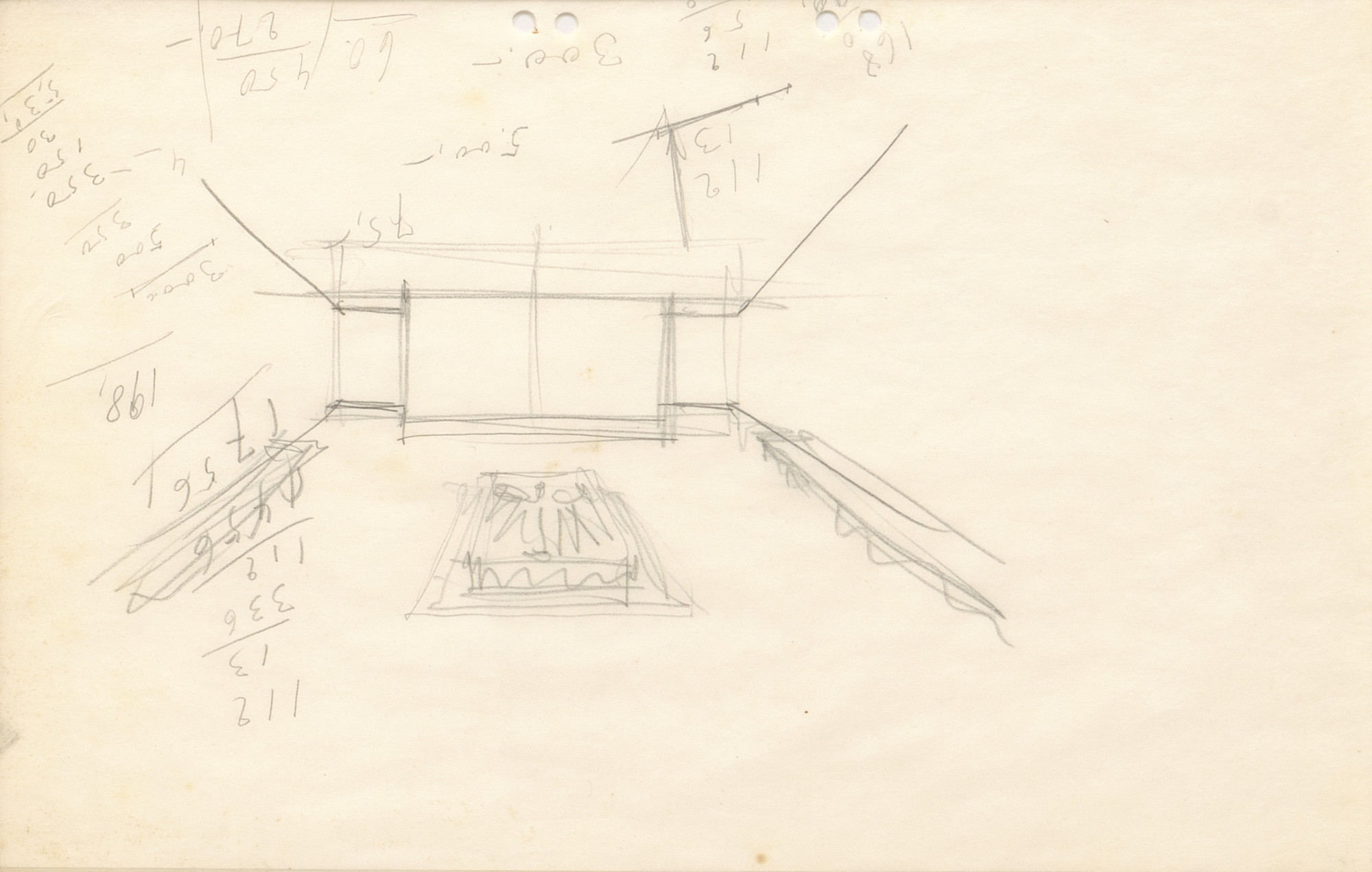 Ludwig Mies van der Rohe. Neue Wache War Memorial Project, Berlin-Mitte, Germany, Sketch interior perspective with computations.. 1930